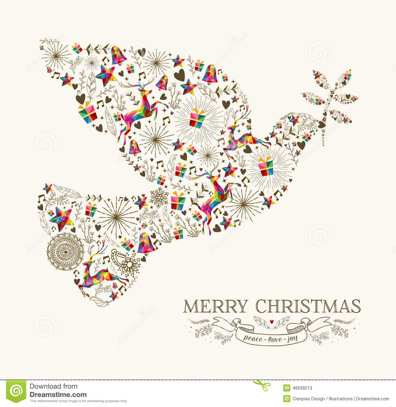 Vintage Christmas peace dove shape with colorful reindeer and retro ...
