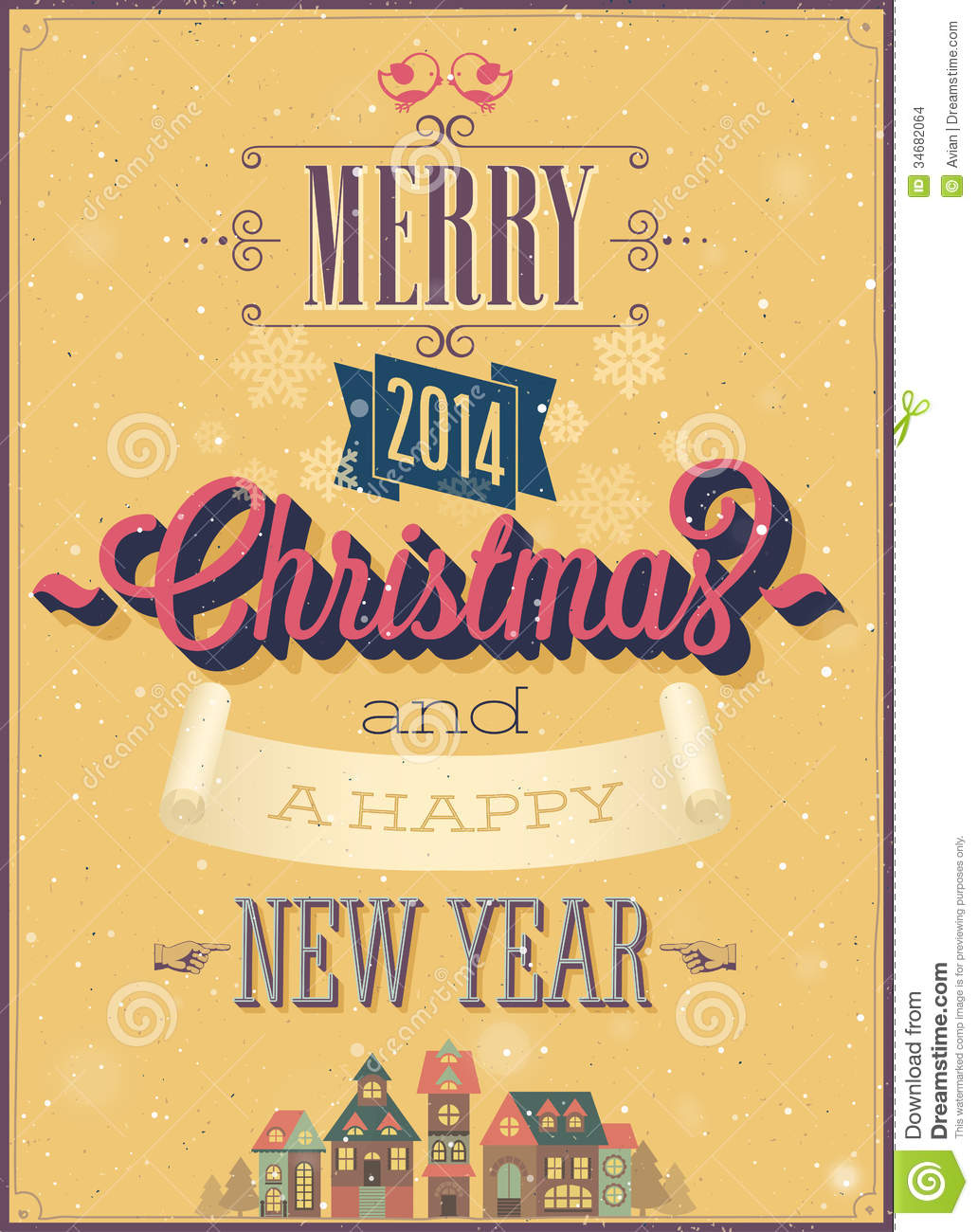 Vintage christmas poster stock vector illustration of greeting 34682064 - Carteles retro ...