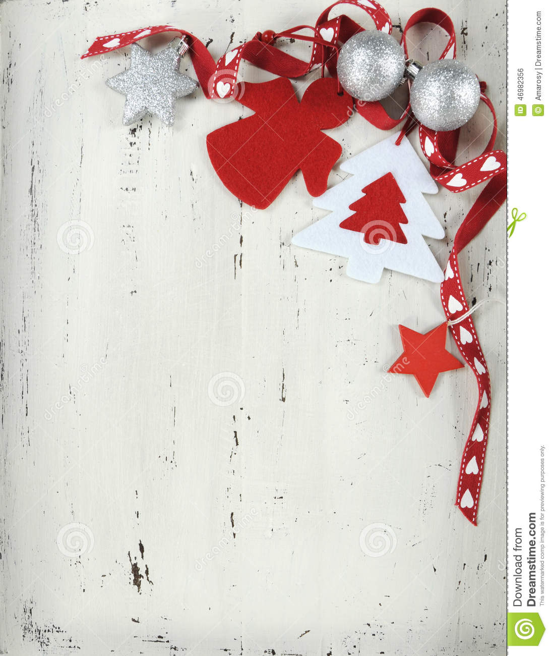 Vintage Christmas Red And White Felt Ornaments - Vertical ...