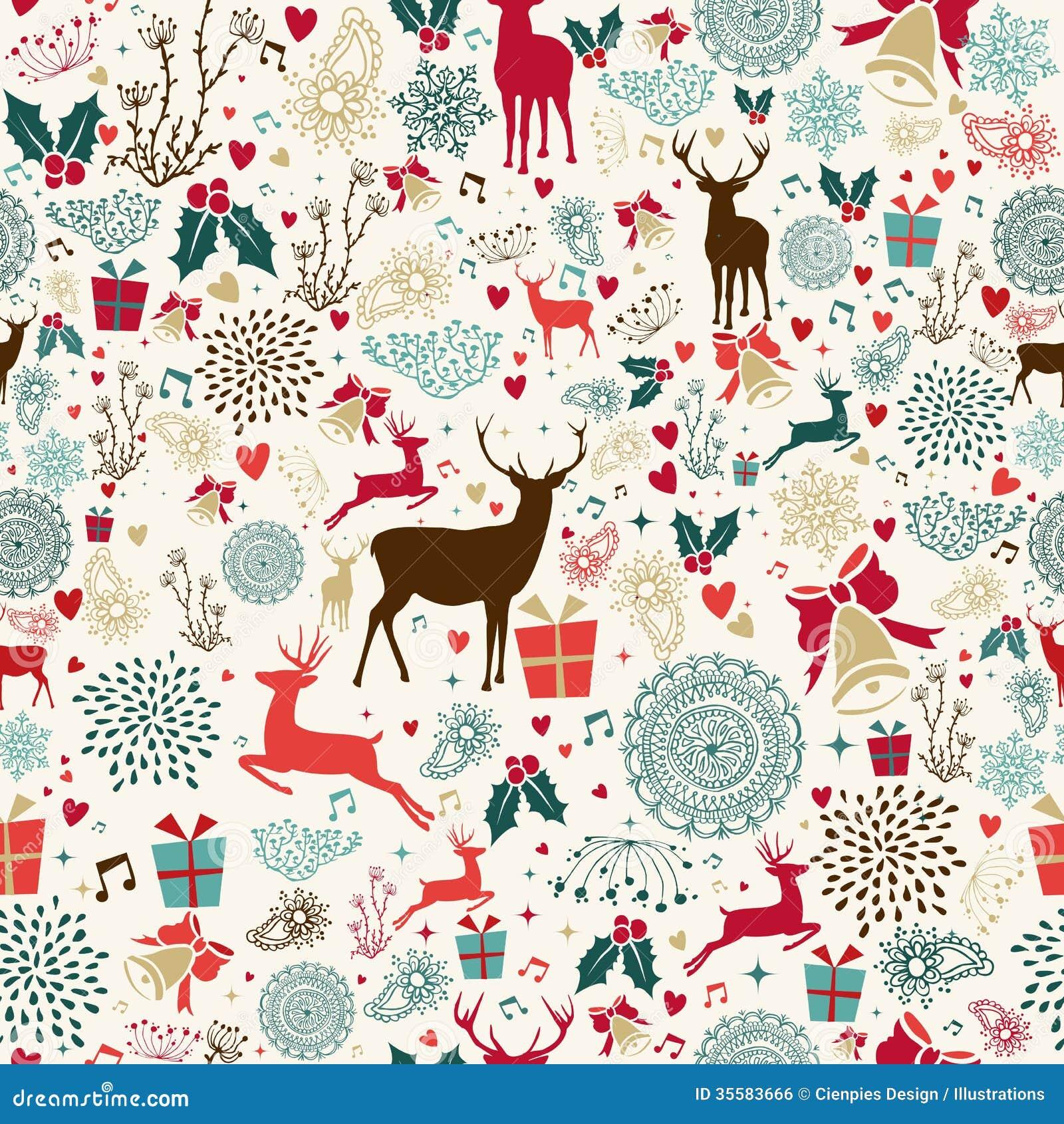 Vintage Christmas elements seamless pattern wrapping background  EPS10    Vintage Christmas Pattern