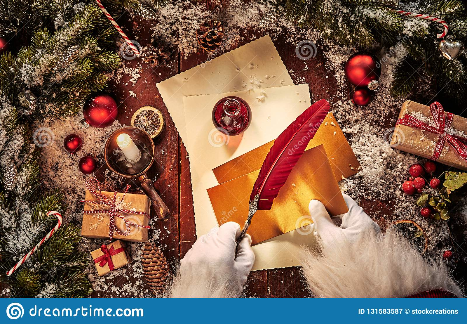 Vintage Christmas Scene With Santa Claus Writing A Letter With A Feather Quill Pen And Decorations On A Rustic Table With Stock Image Image Of Life Vintage 131583587