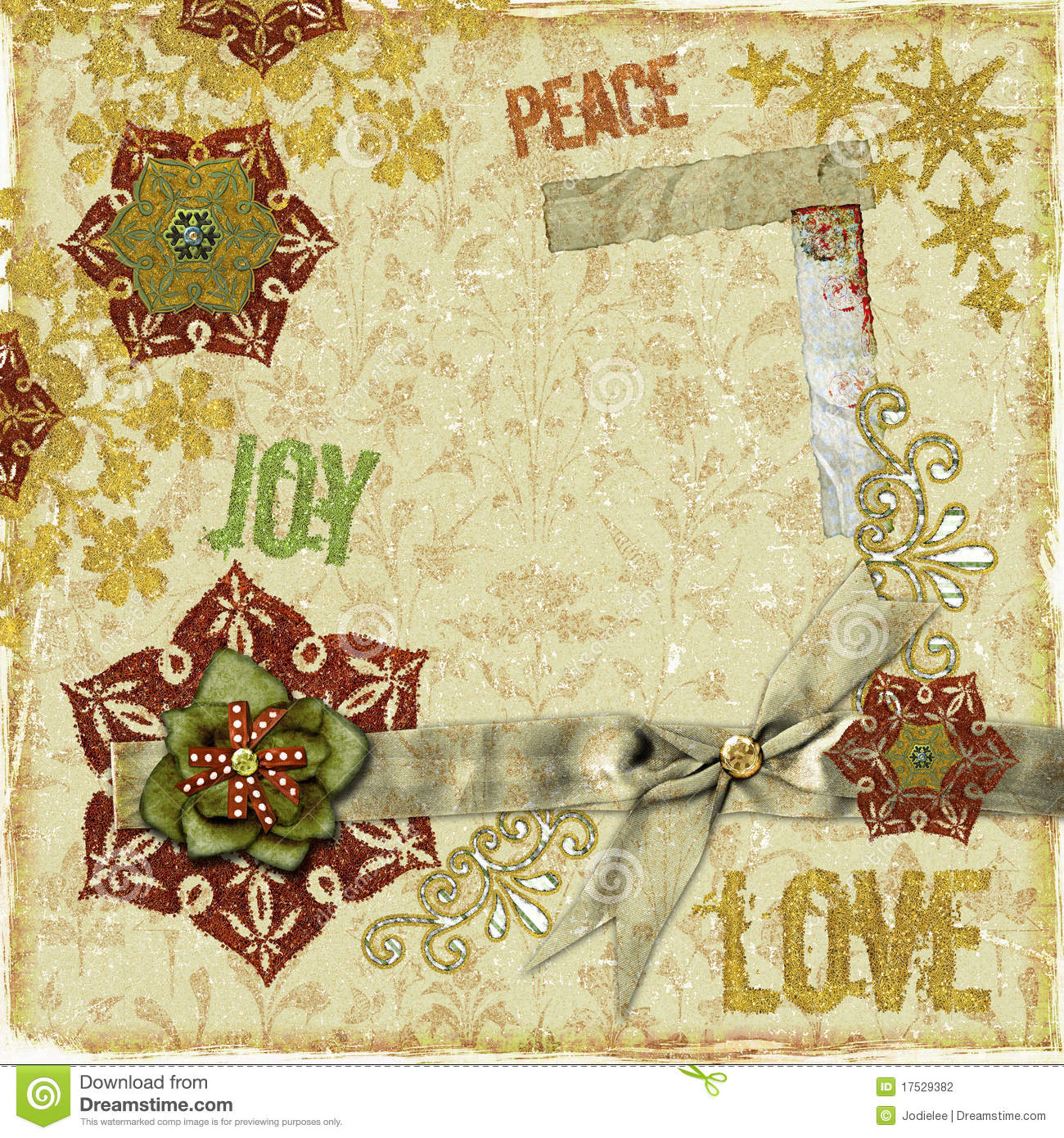 Vintage christmas scrapbook frame or card stock photography image