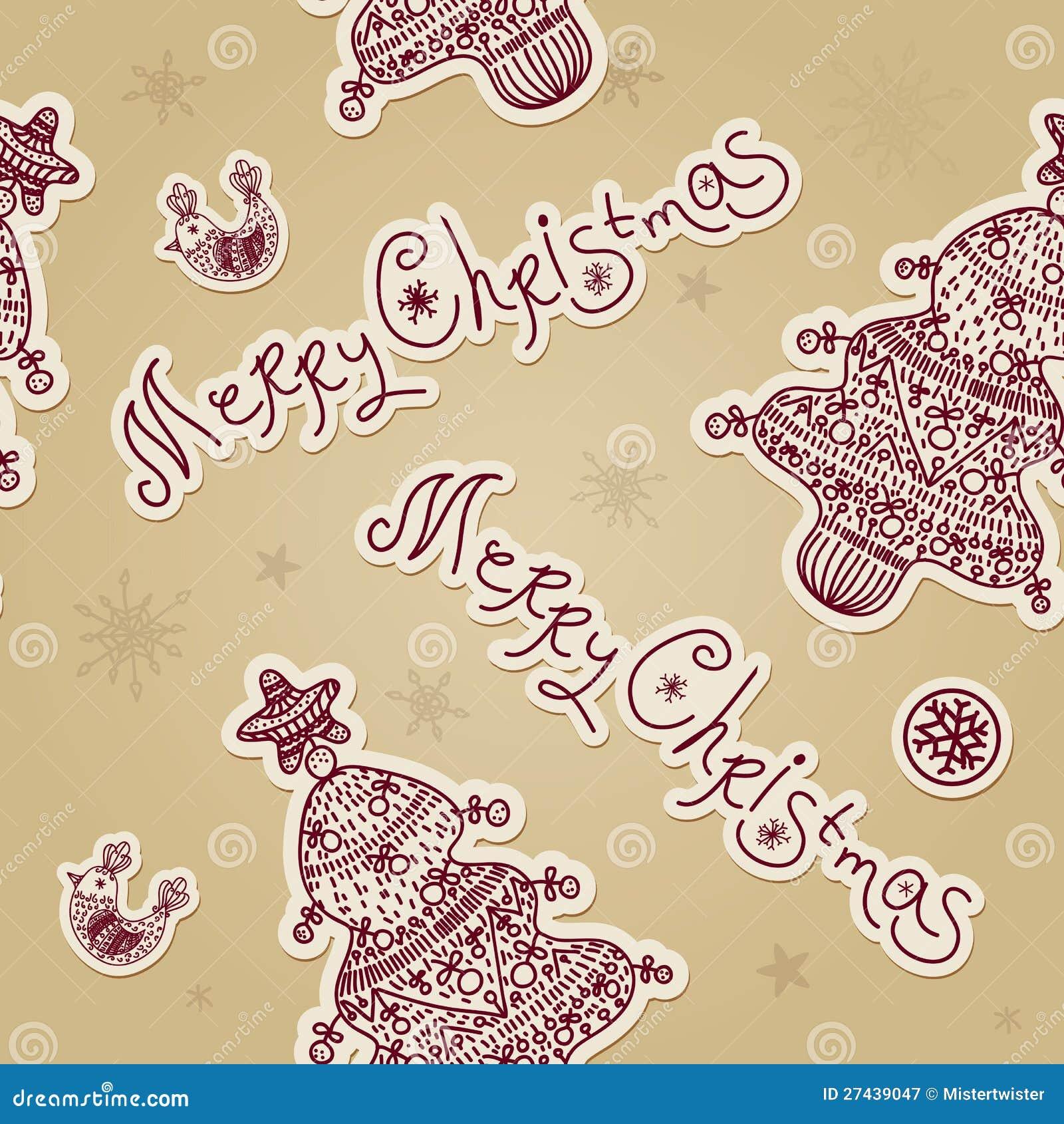 Vintage christmas seamless pattern with xmas tree Vintage Christmas Pattern