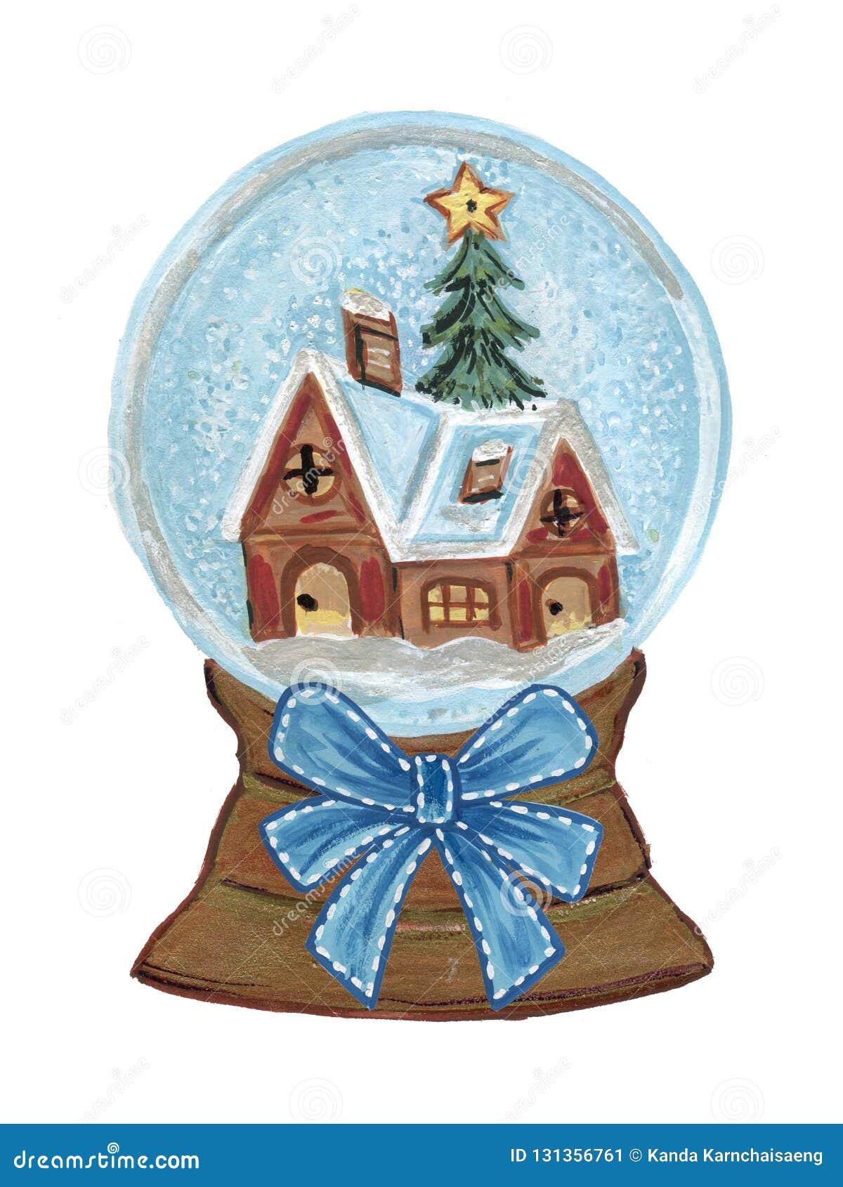 Vintage Christmas Snow Globes.Vintage Christmas Snow Globe House And Christmas Tree And
