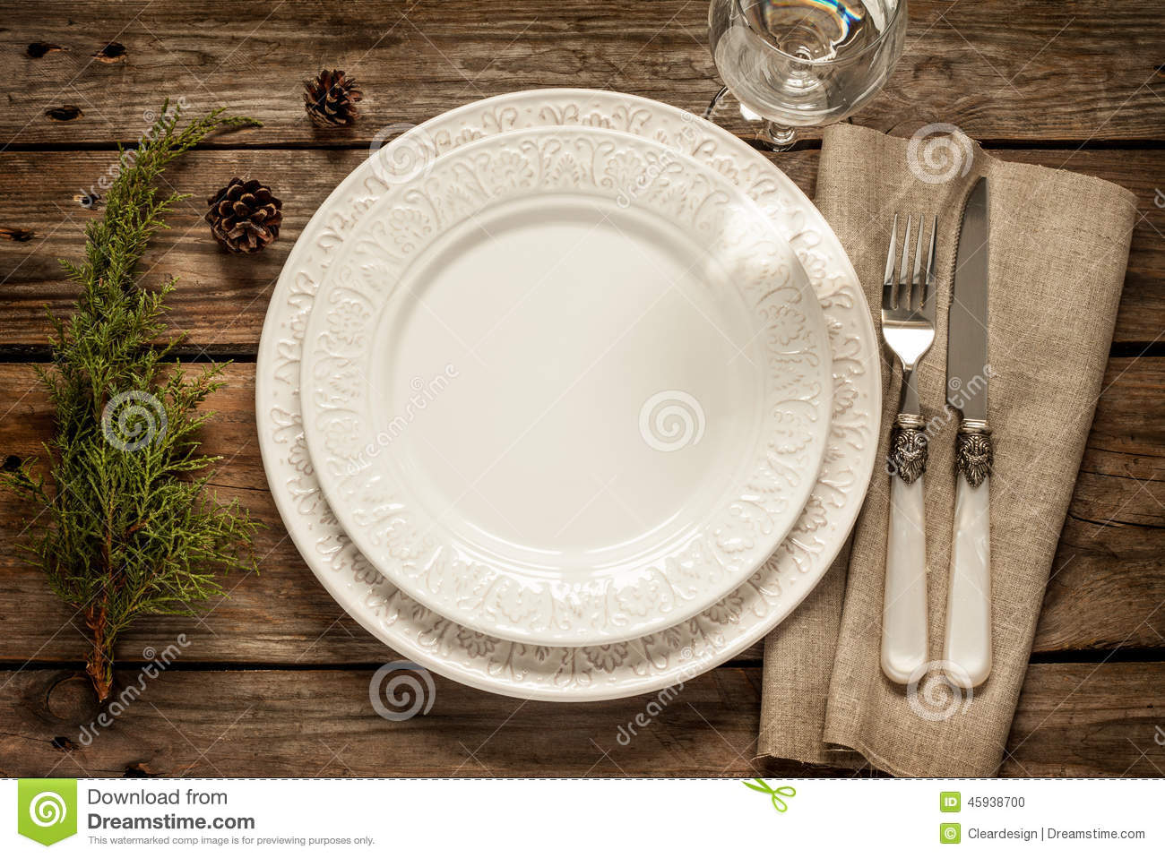 Vintage Christmas Table Empty White Plate From Above On