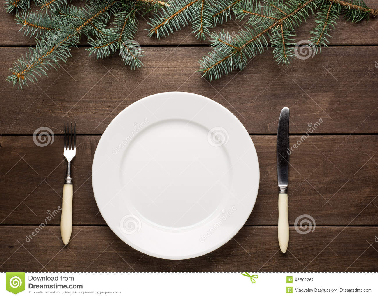 Vintage Christmas Table Setting From Above Stock Photo