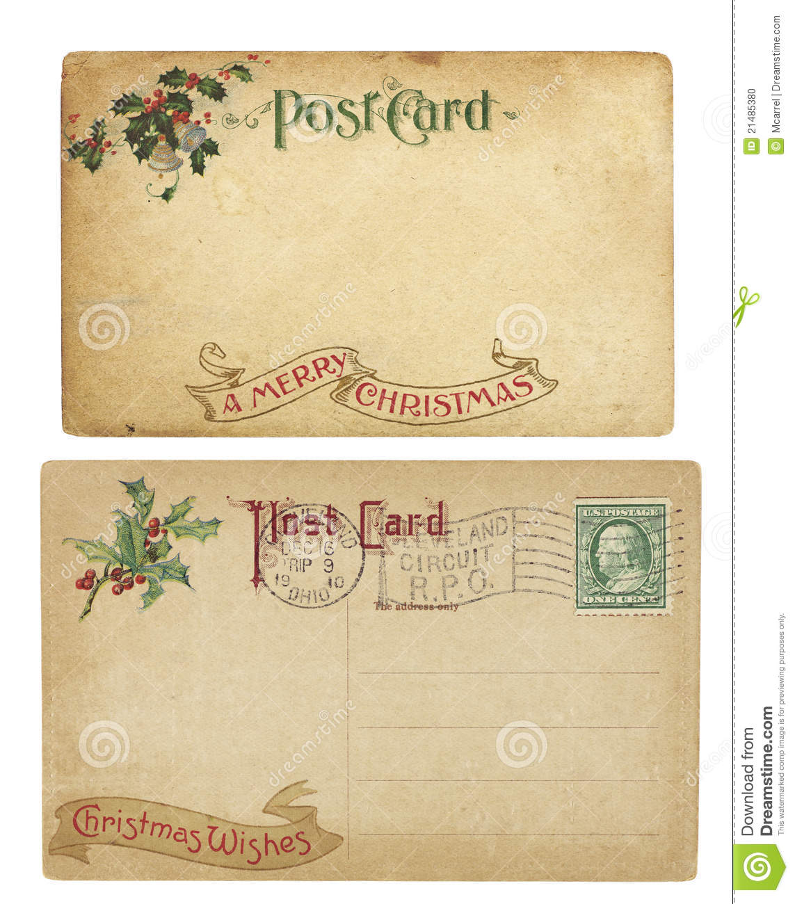 Vintage Christmas Theme Postcards Stock Photo - Image