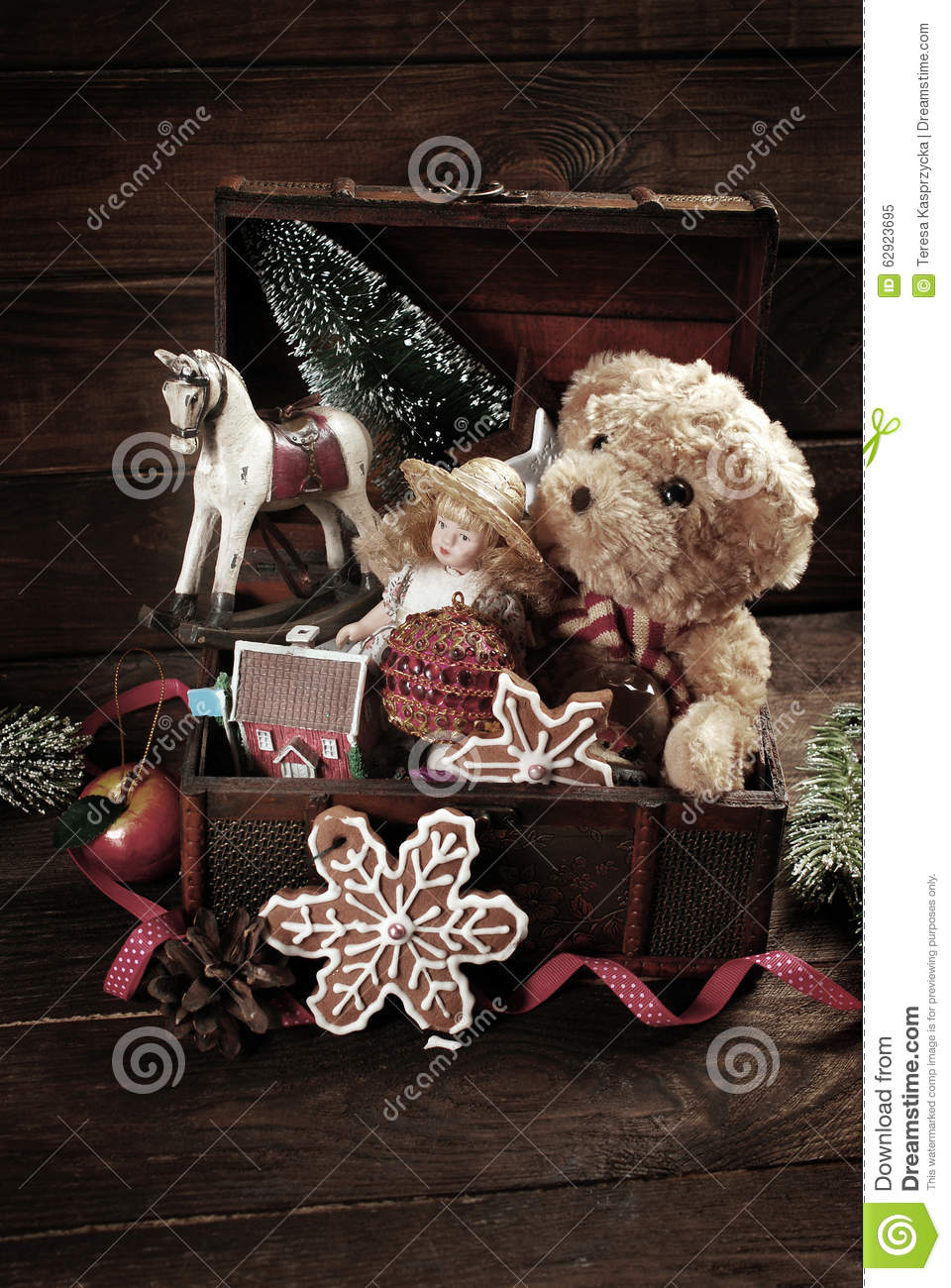 Treasure Chest Decorations Vintage Christmas Toys In Old Treasure Chest Stock Photo Image