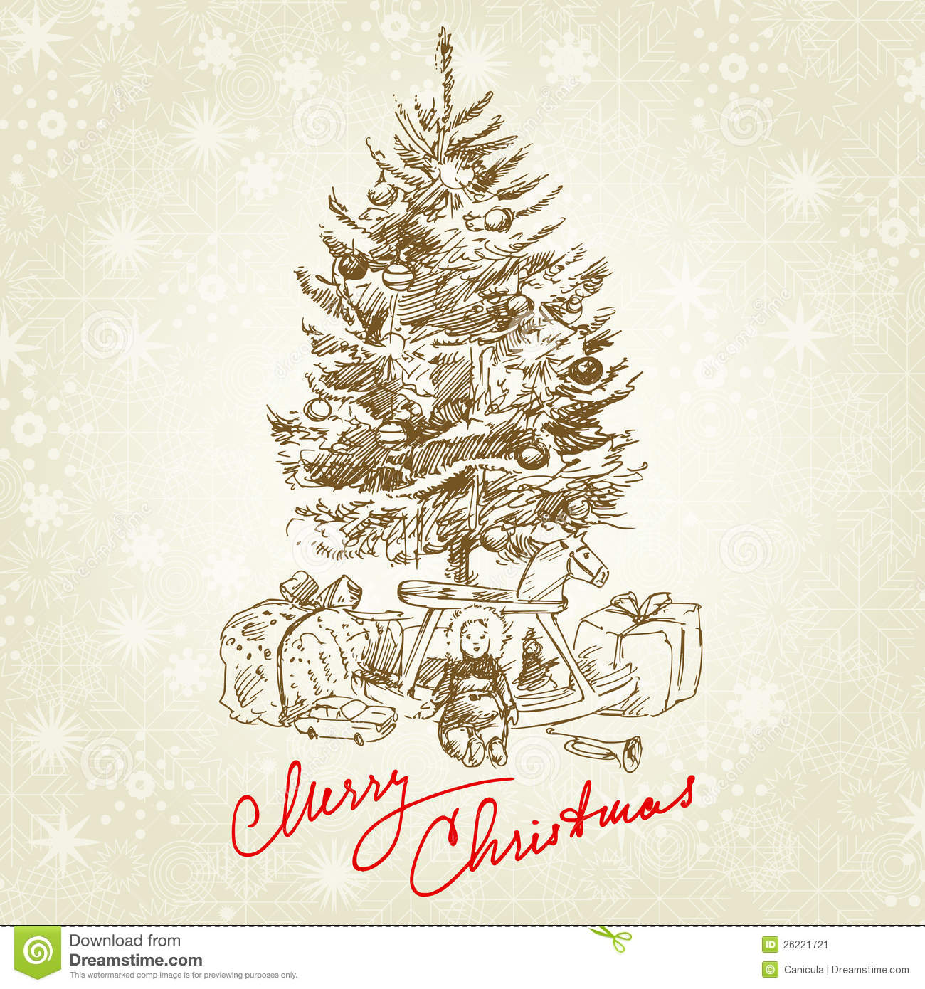 Vintage Christmas Tree Stock Image - Image: 26221721