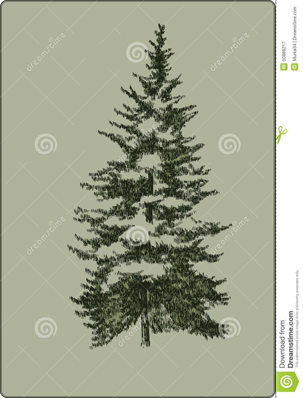 Vintage Christmas Tree, Hand-drawing. Vector Illustration. Stock ...