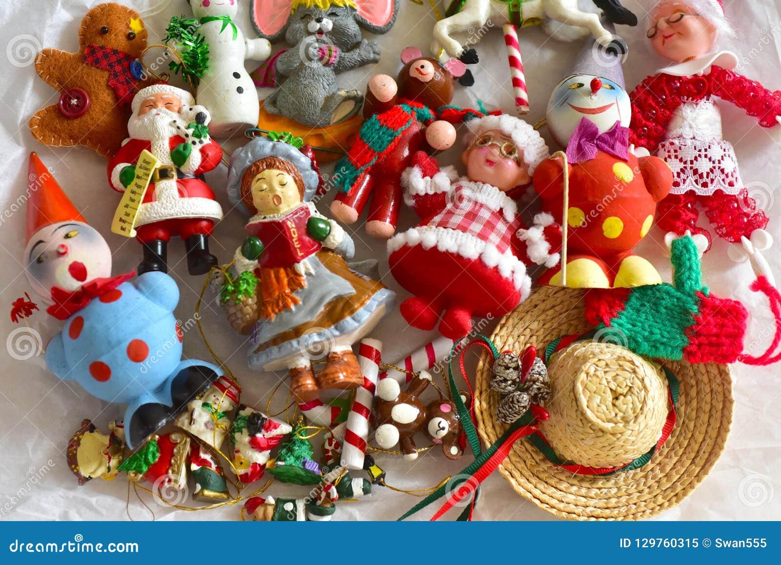 Vintage Christmas Tree Ornaments Stock Image Image Of Holiday White 129760315