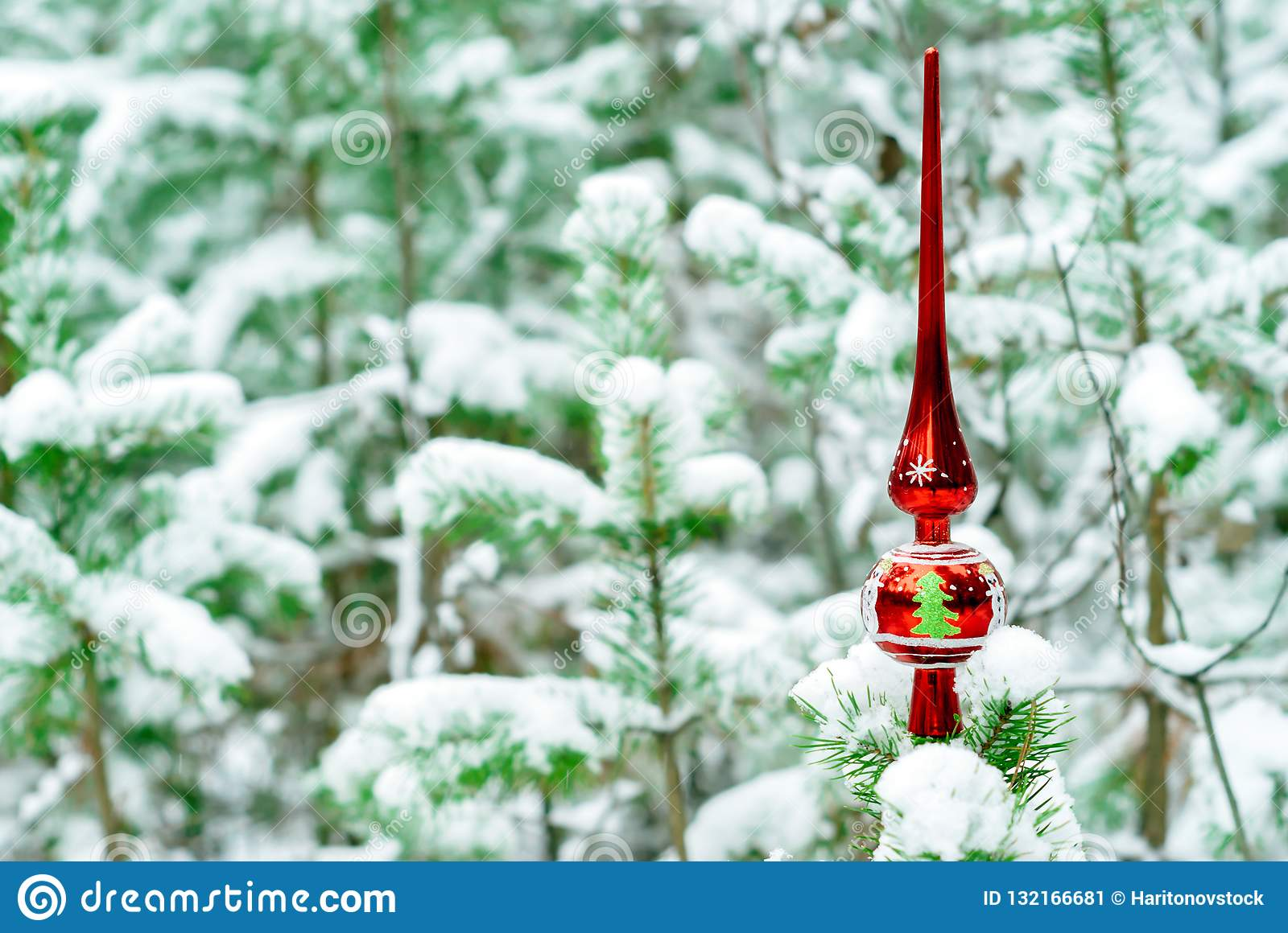 Vintage Christmas Tree Topper Stock Image Image Of Topper Snow