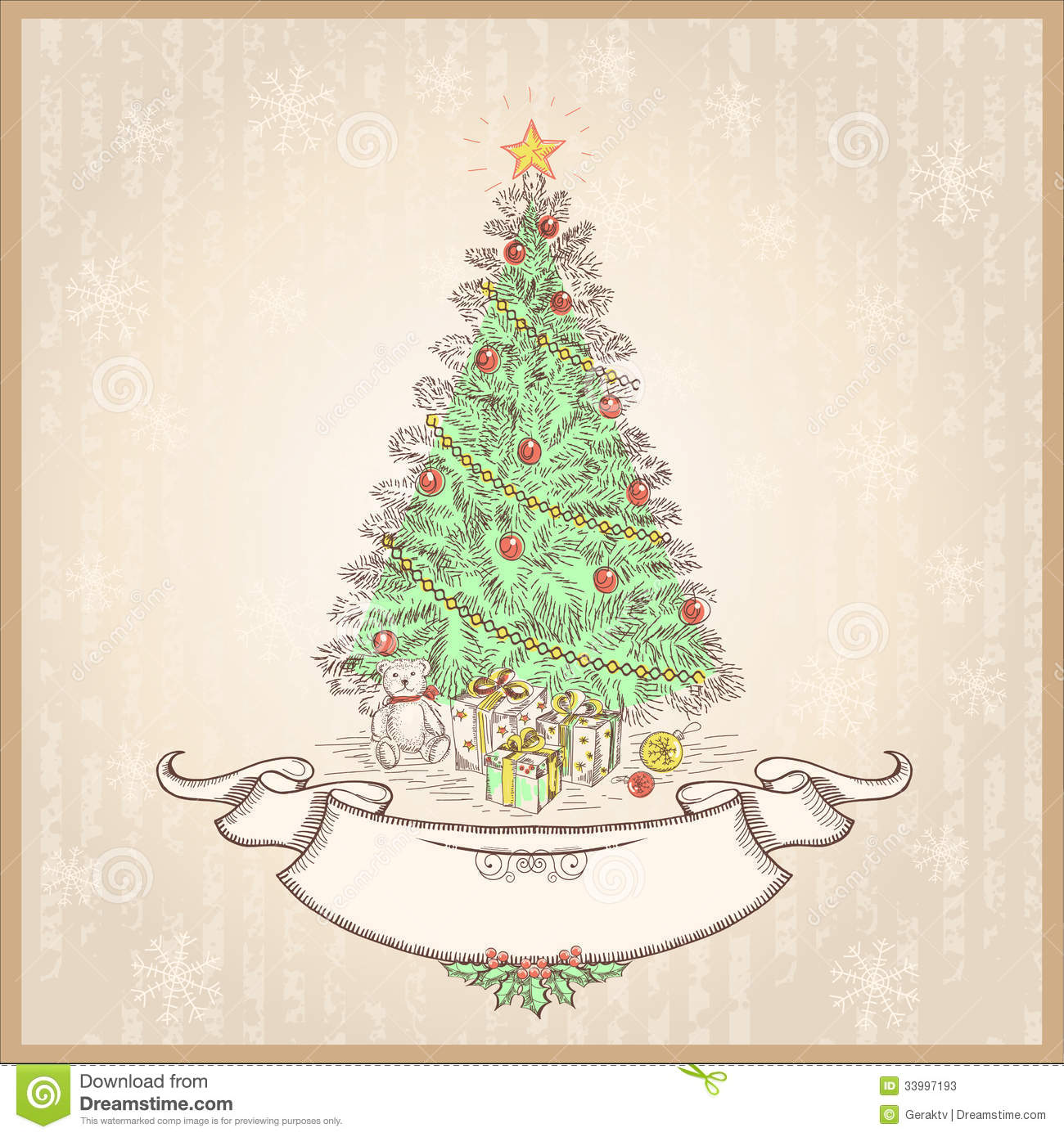 Vintage Christmas Tree.Vector Illustration With Ol Stock Photos ...