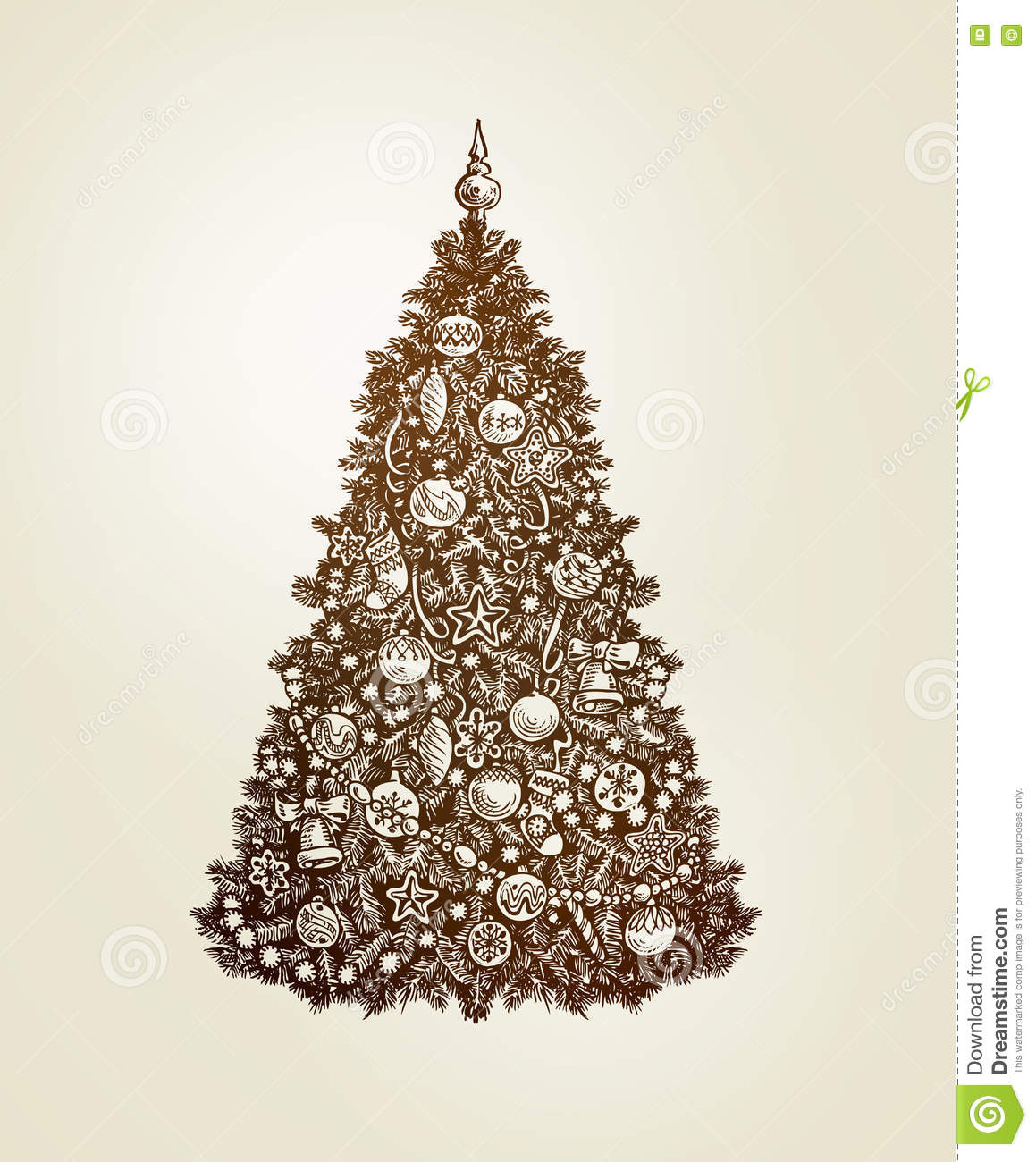 Vintage Christmas tree with xmas decorations. Hand-drawn sketch vector
