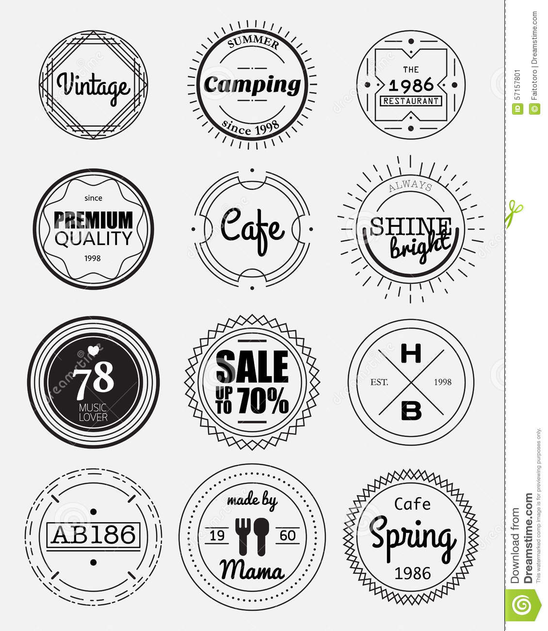 12 vintage circle badges collection stock vector illustration of black premium 57157801. Black Bedroom Furniture Sets. Home Design Ideas