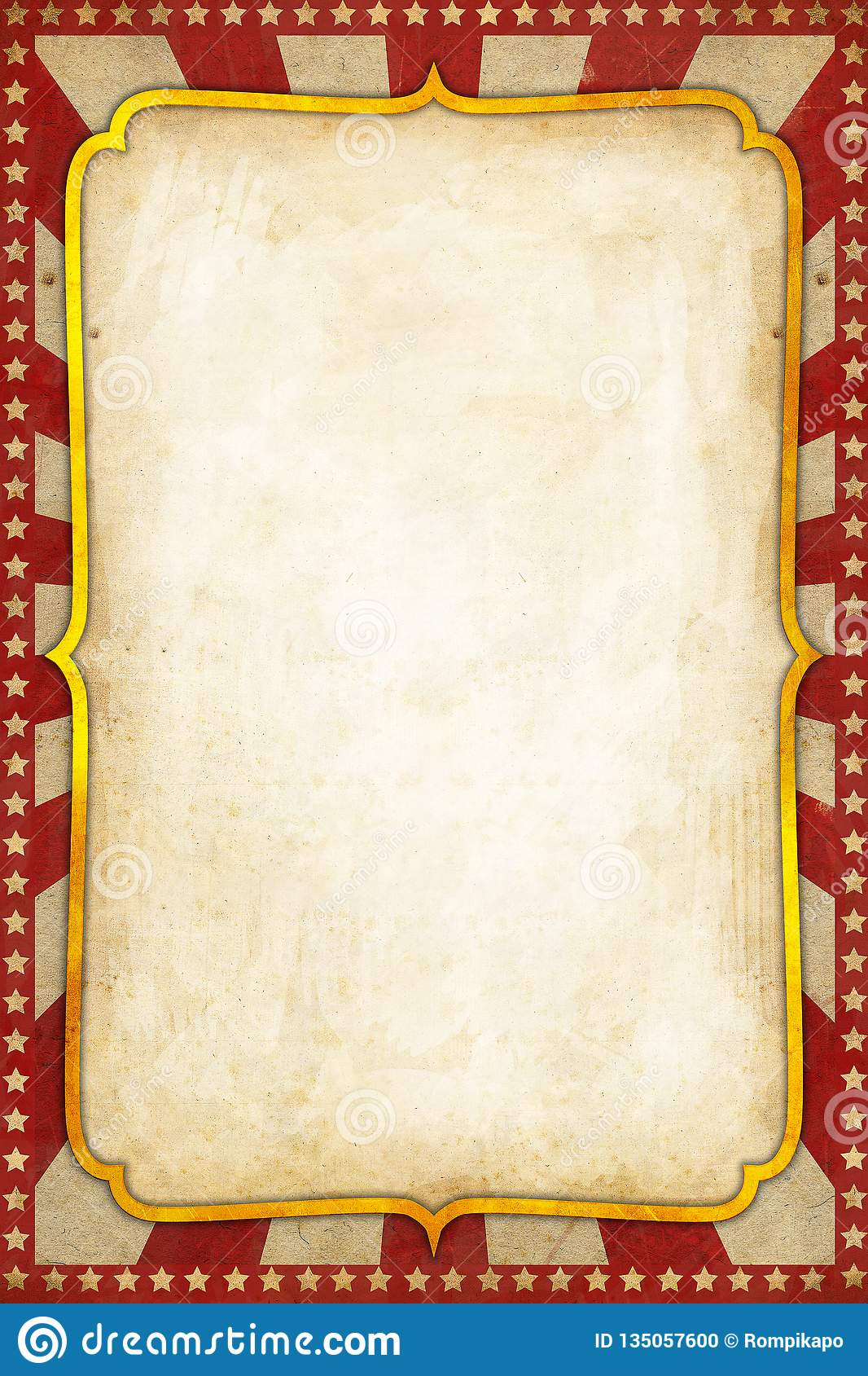 Vintage Circus Poster Background with golden frame red sunburst and stars