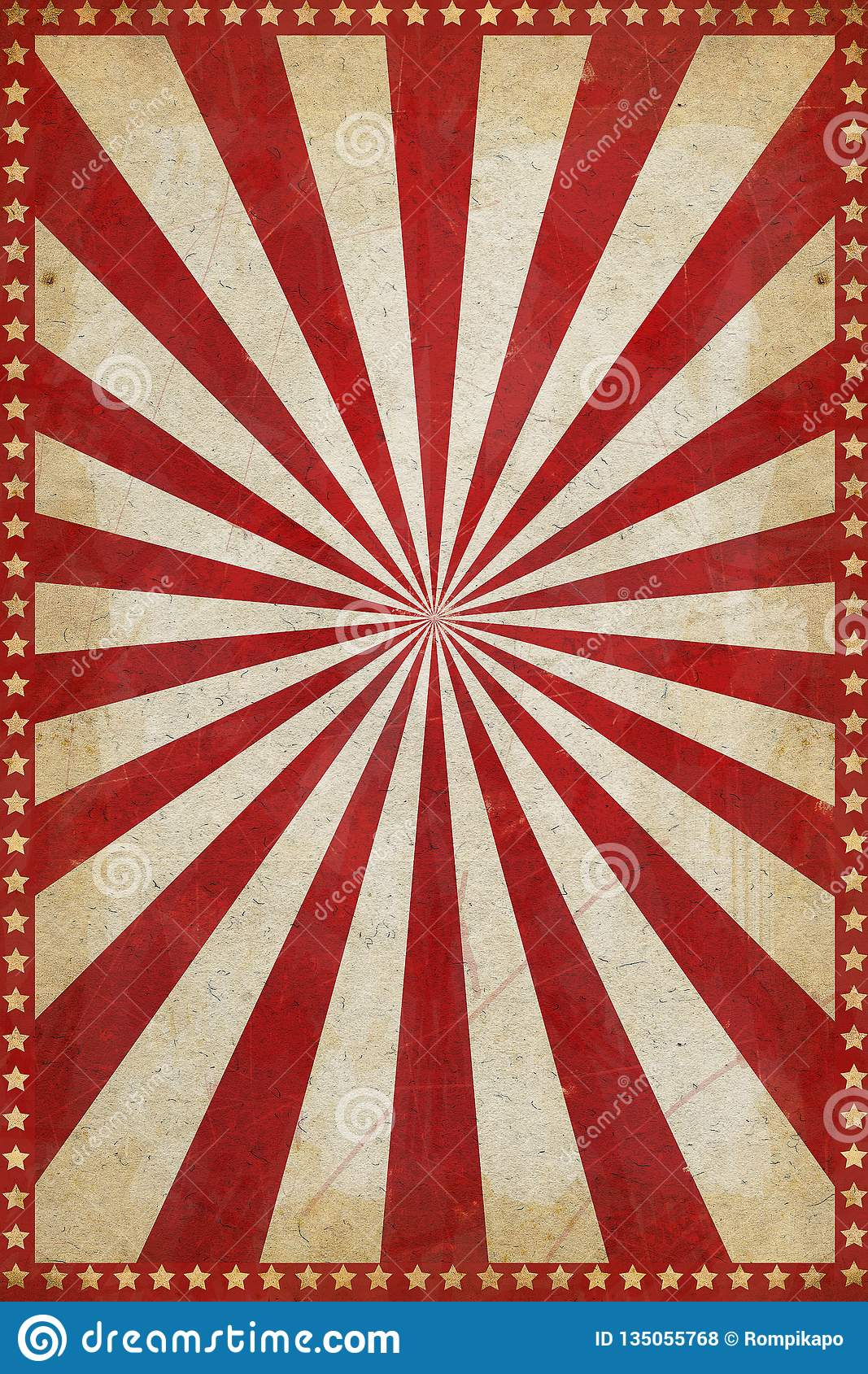 Vintage Circus Poster Background With Sunburst And Stars ...