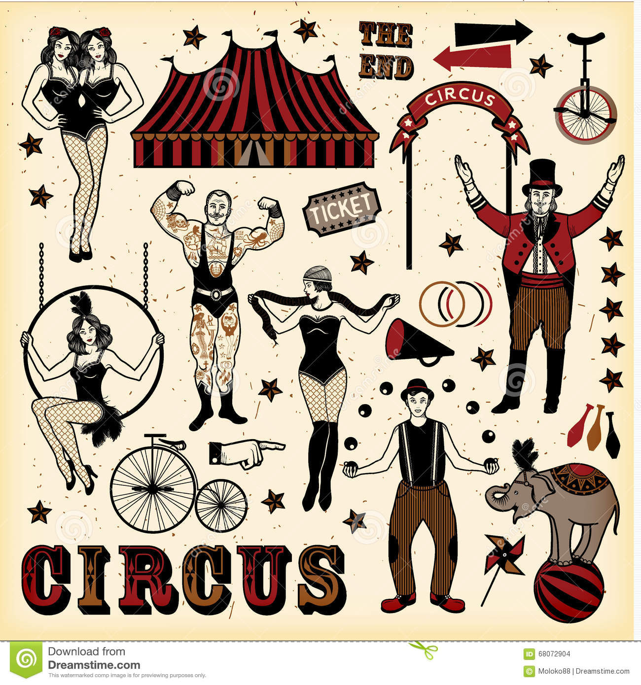 Vintage Circus Set stock vector. Illustration of ...