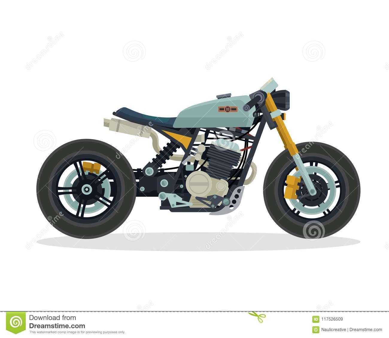 Vintage Classic Cafe Racer Motorcycle Illustration Stock Vector Illustration Of Isolated Brotherhood 117526509