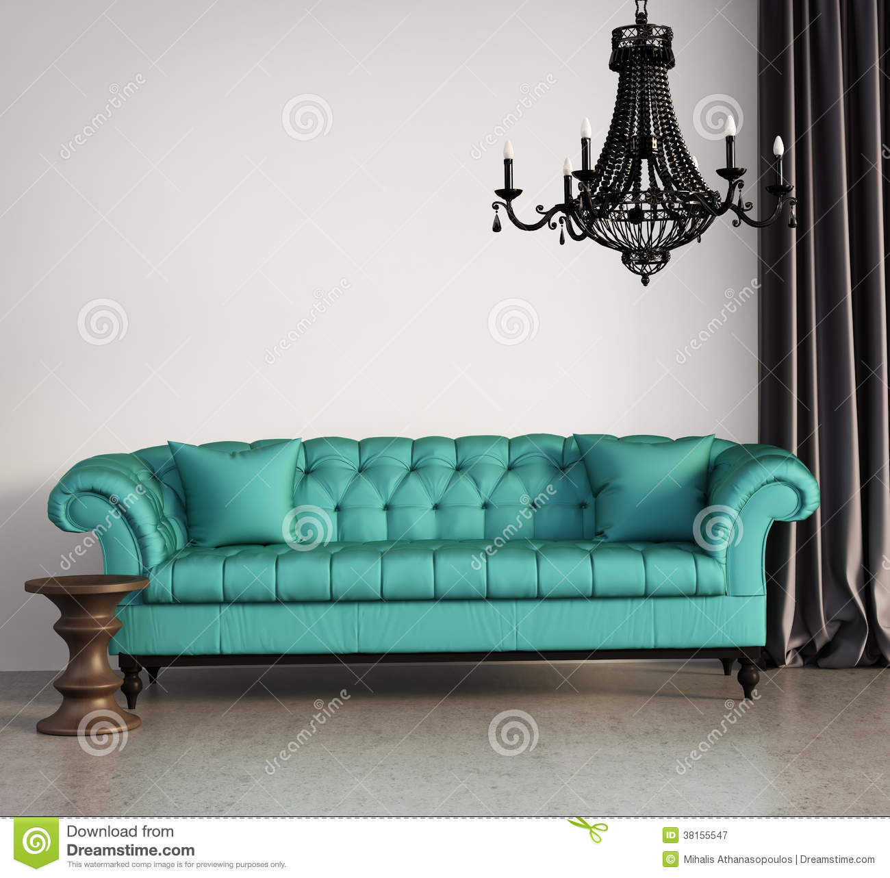 Vintage Classic Elegant Living Room Stock Illustration