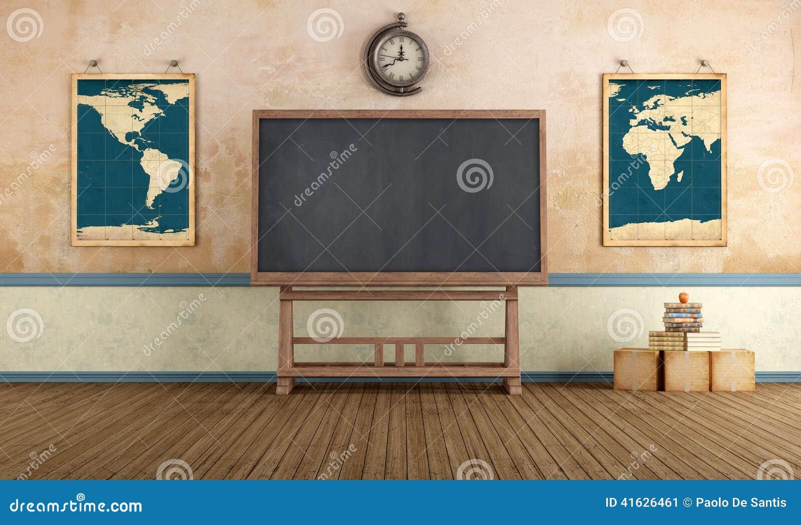 Classroom Blackboard Design ~ Vintage classroom stock illustration of