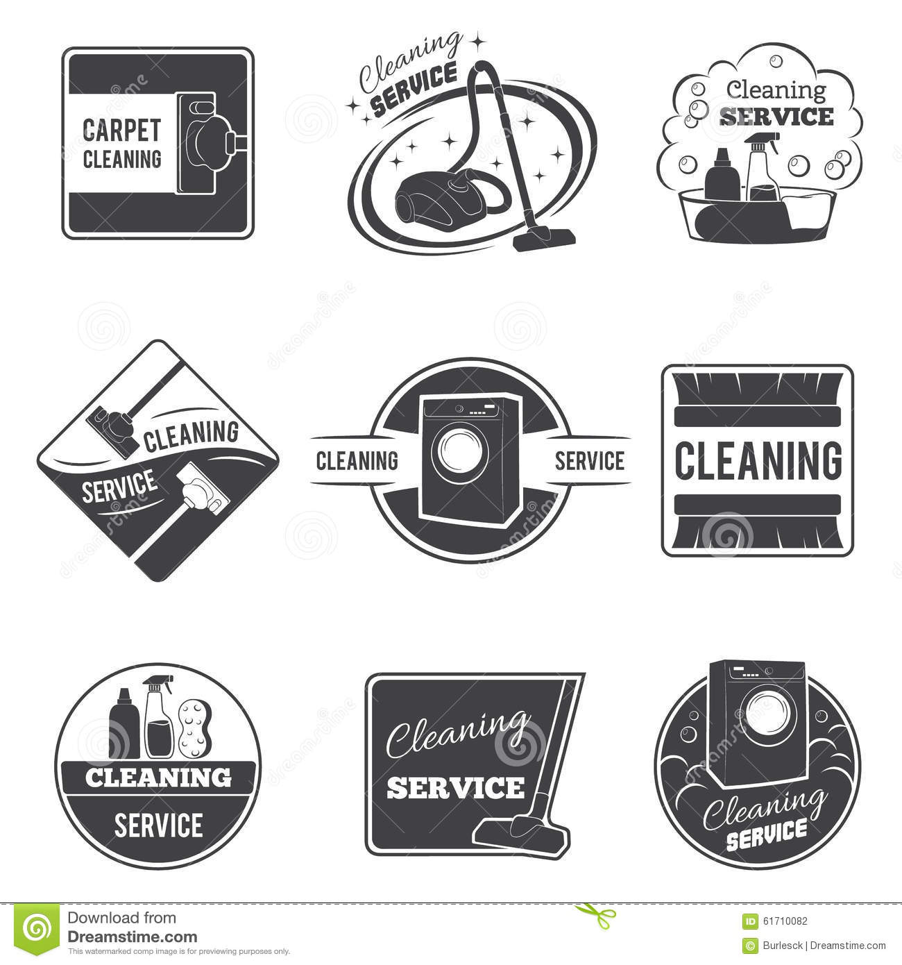 Vintage Cleaning Service Vector Logos Emblems Stock