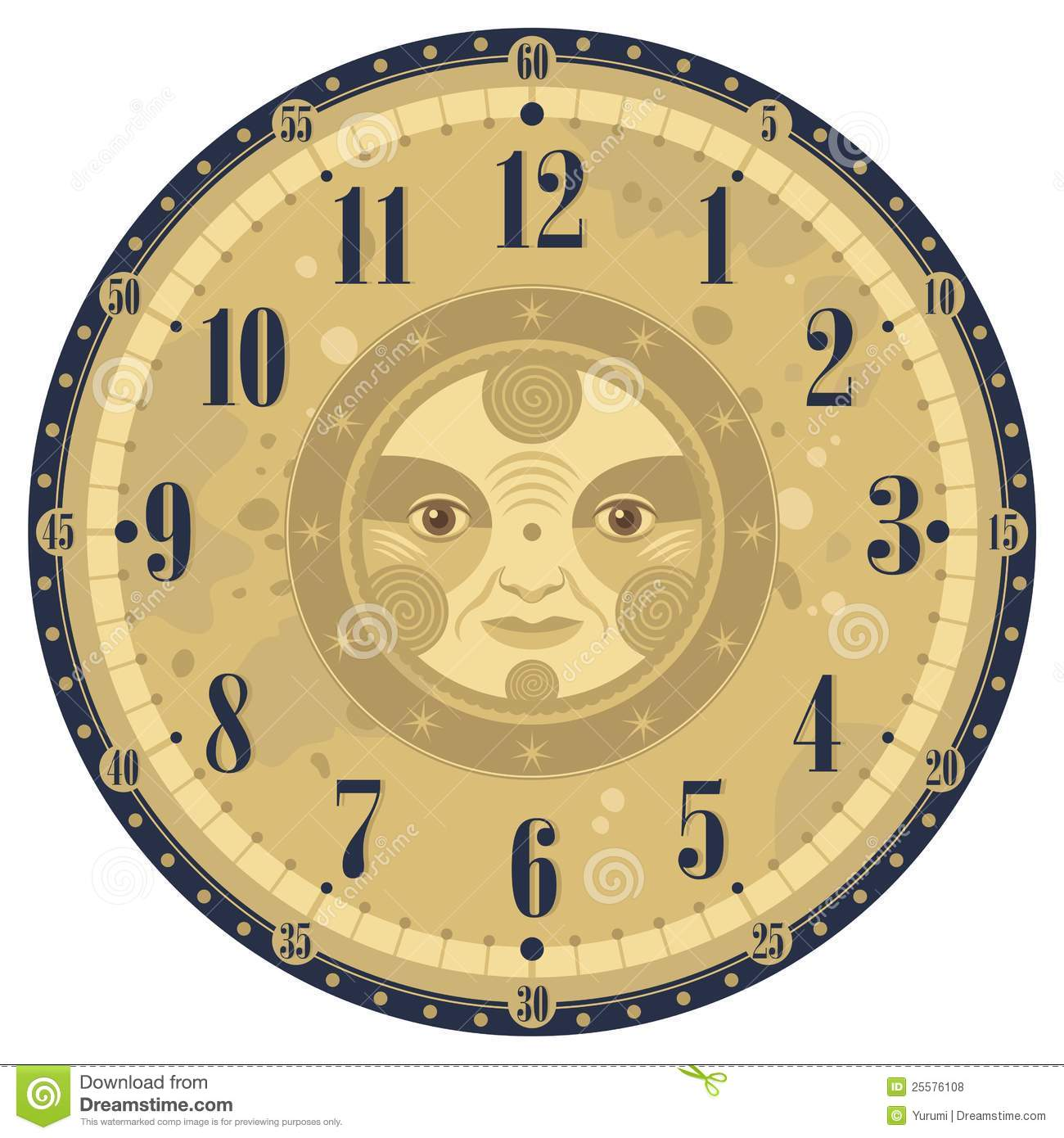 Vintage Clock Face Stock Vector Illustration Of