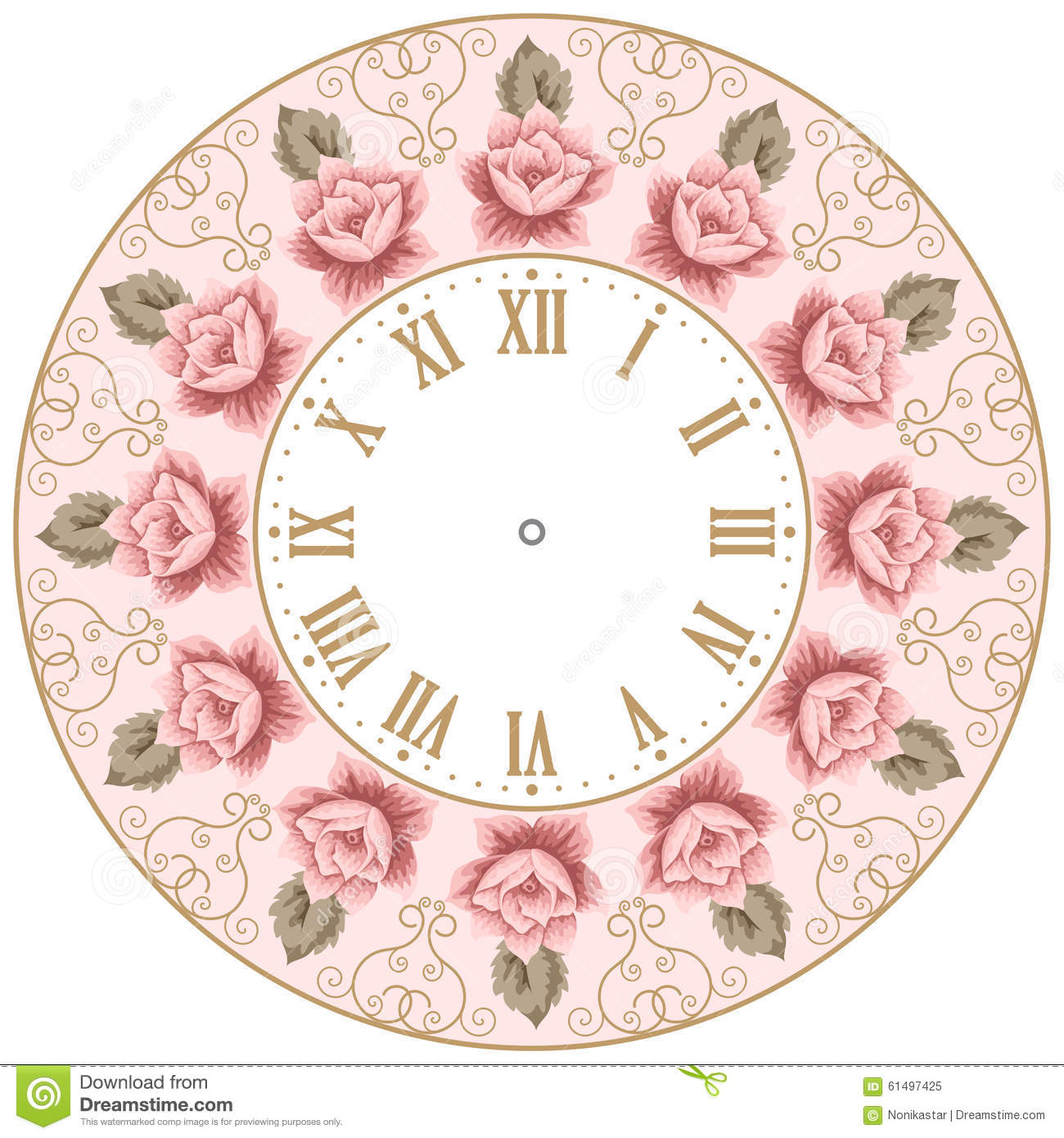 vintage clock face with roses stock vector   image 61497425