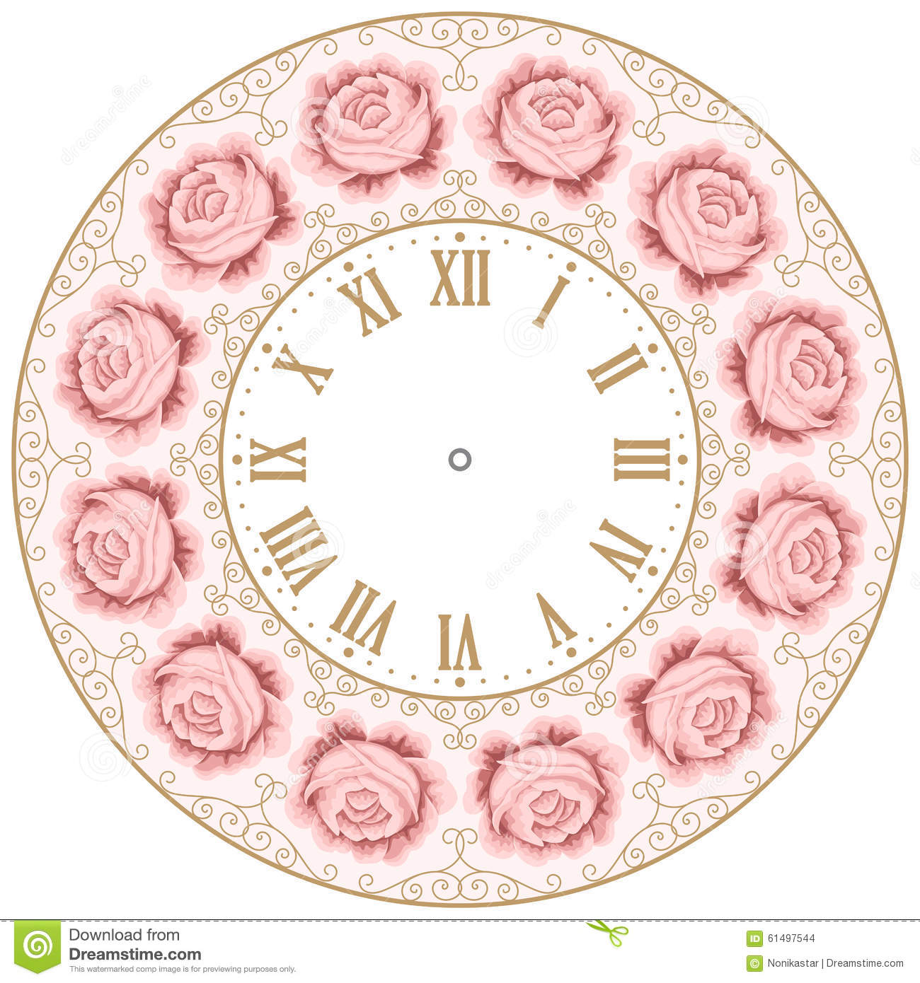 Vintage Clock Face With Roses Stock Vector Image 61497544