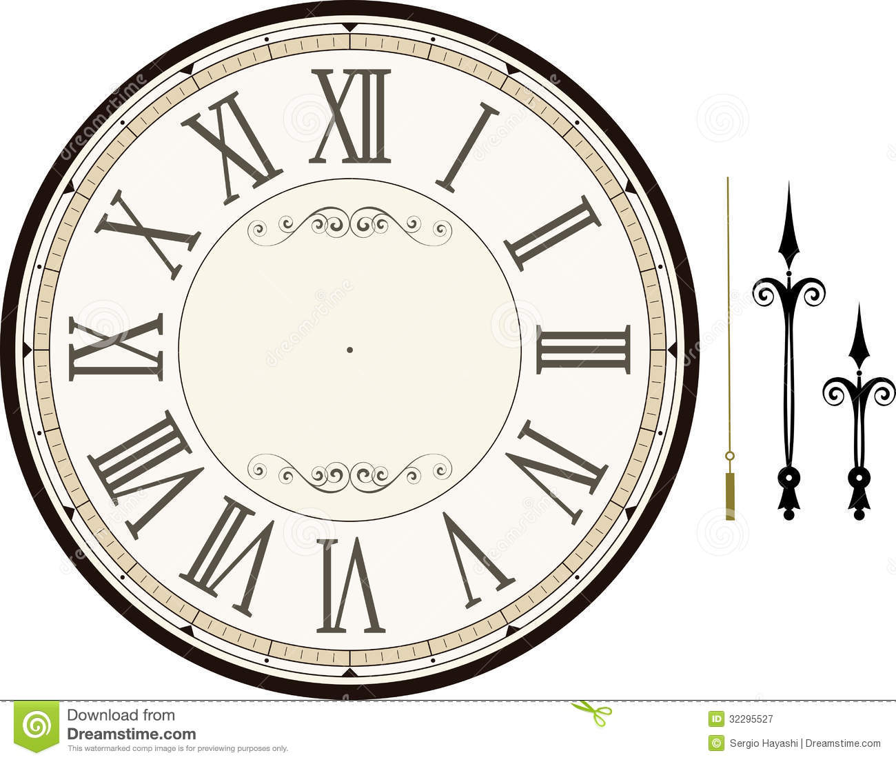 Vintage clock face template with hour, minute and second hands to make ...