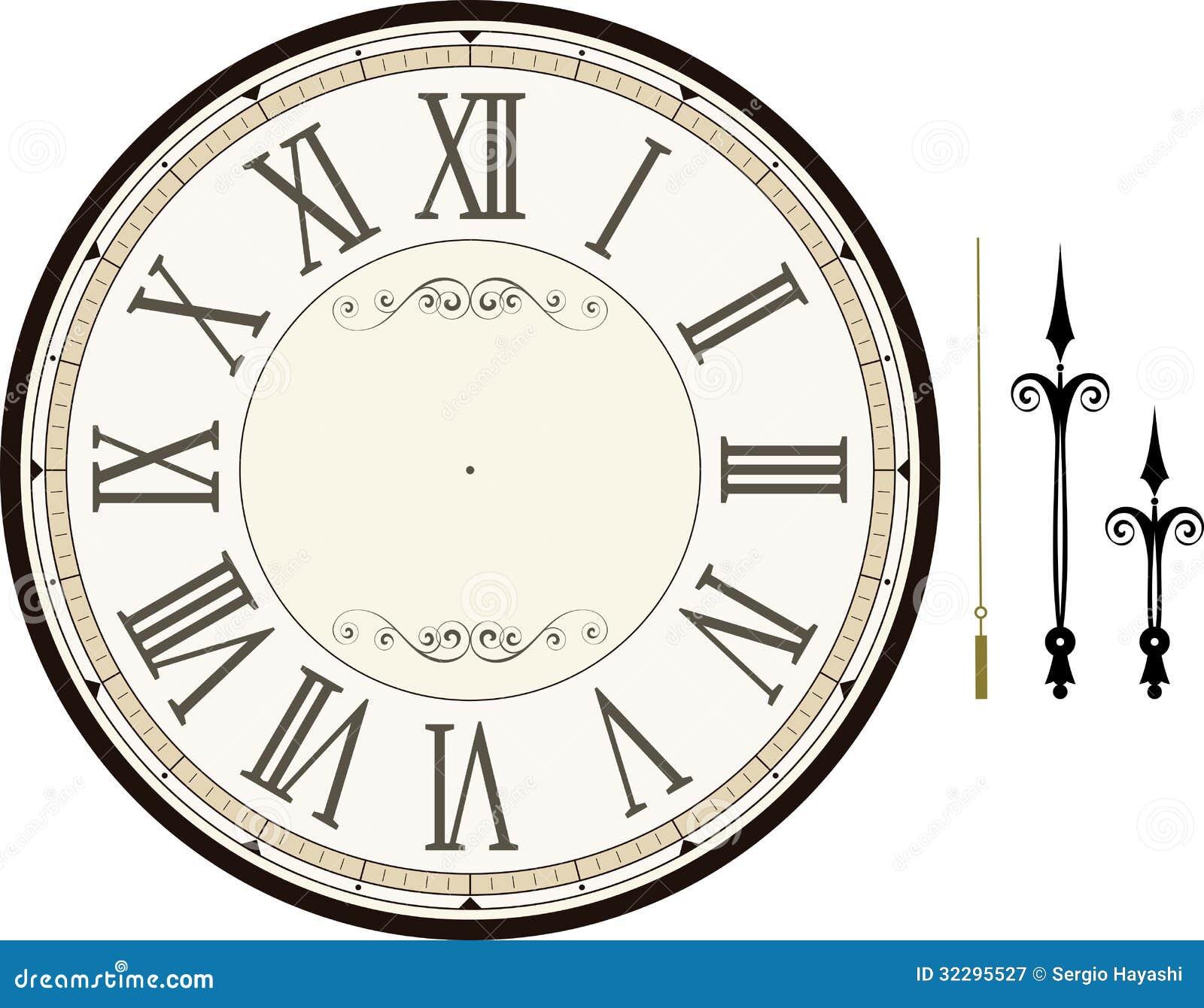 Blank Clock Face Clipart Vintage clock face template