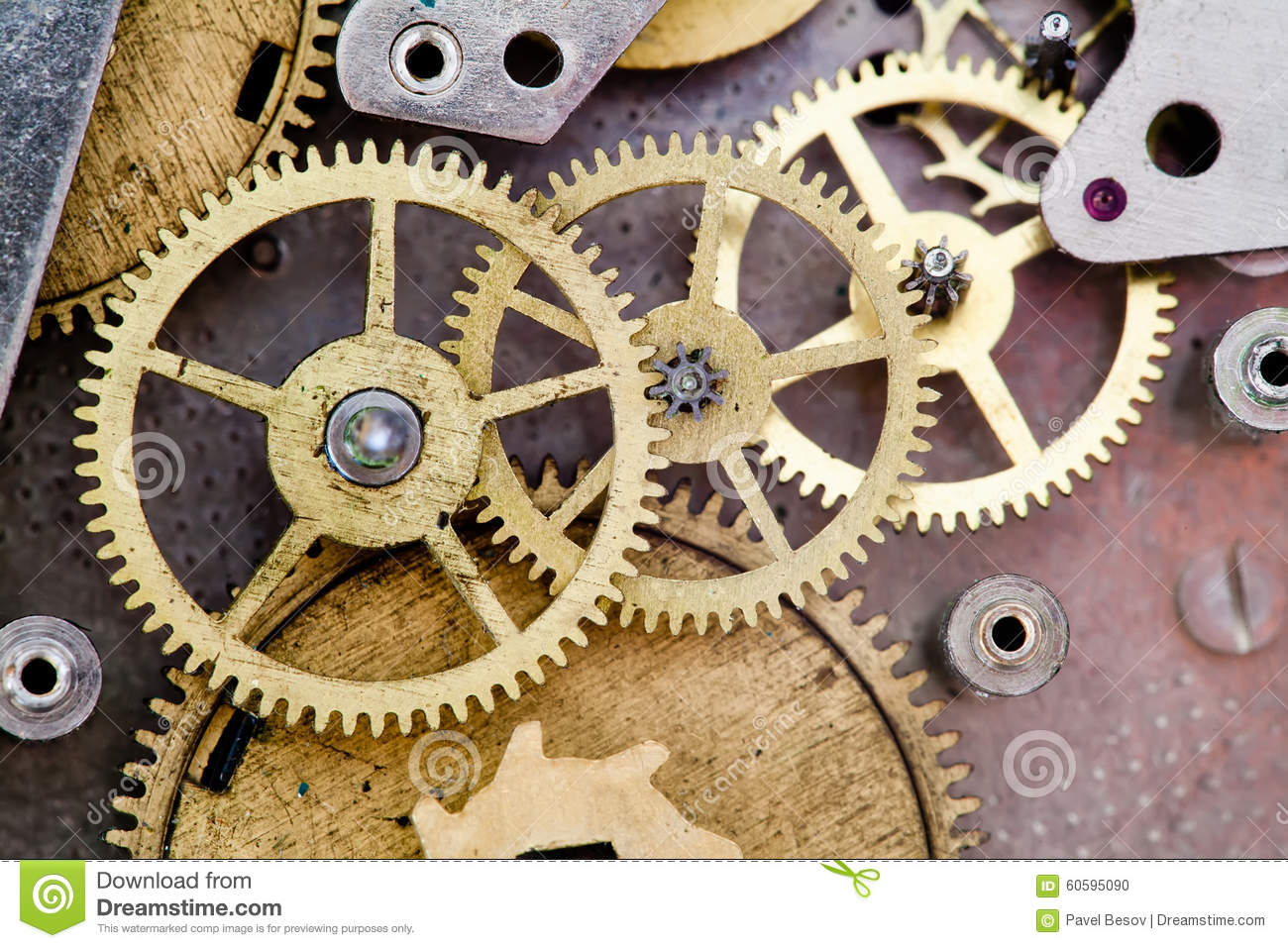 Vintage Clock Mechanism With Gears Stock Photo Image