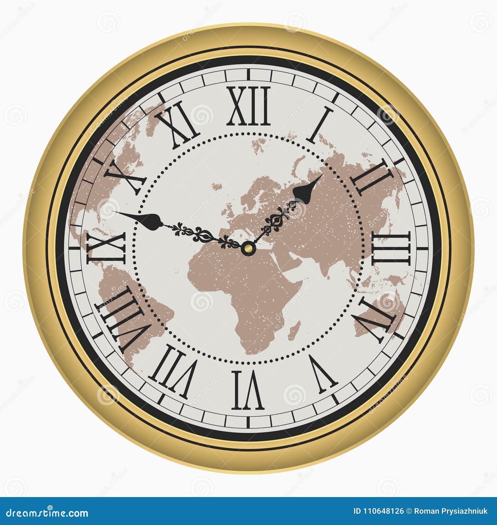Vintage clock with world map antique golden wall clock face dial download vintage clock with world map antique golden wall clock face dial with roman gumiabroncs Images