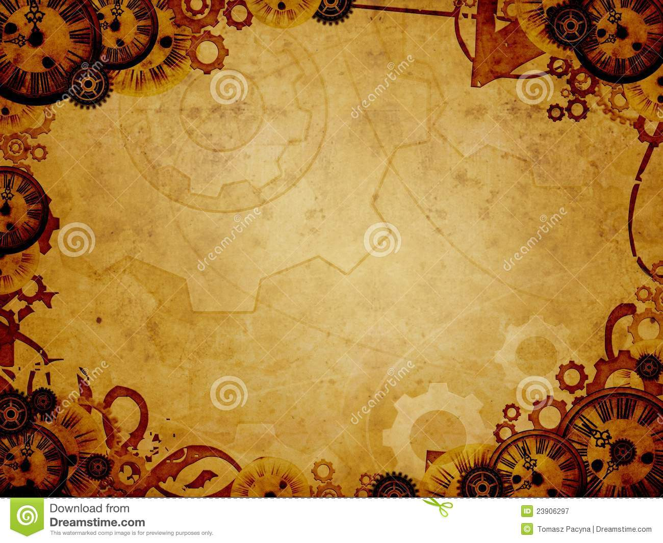 vintage clocks steam punk background stock illustration