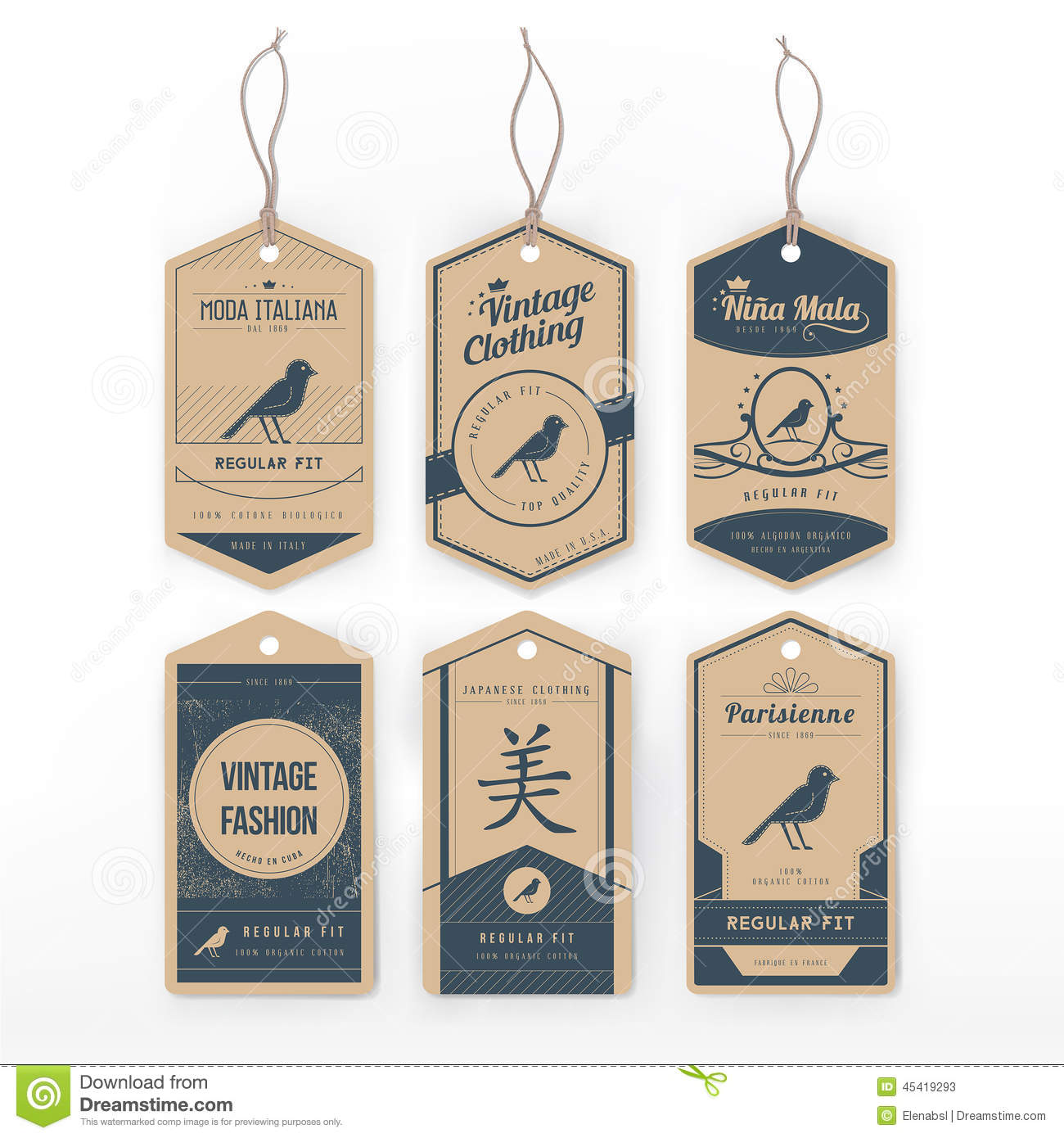 vintage clothing tags stock vector image 45419293
