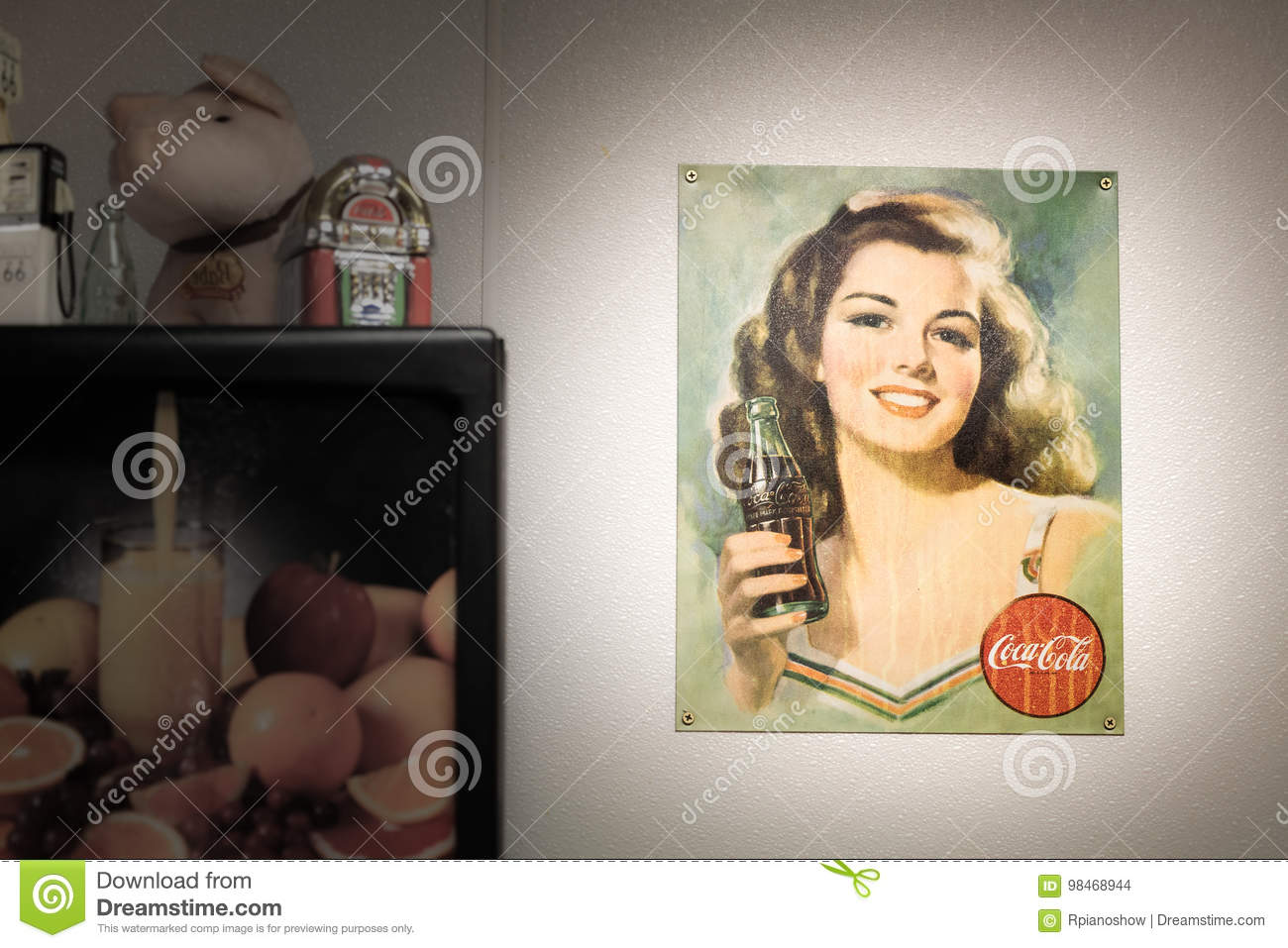 Vintage CocaCola poster  editorial stock image  Image of
