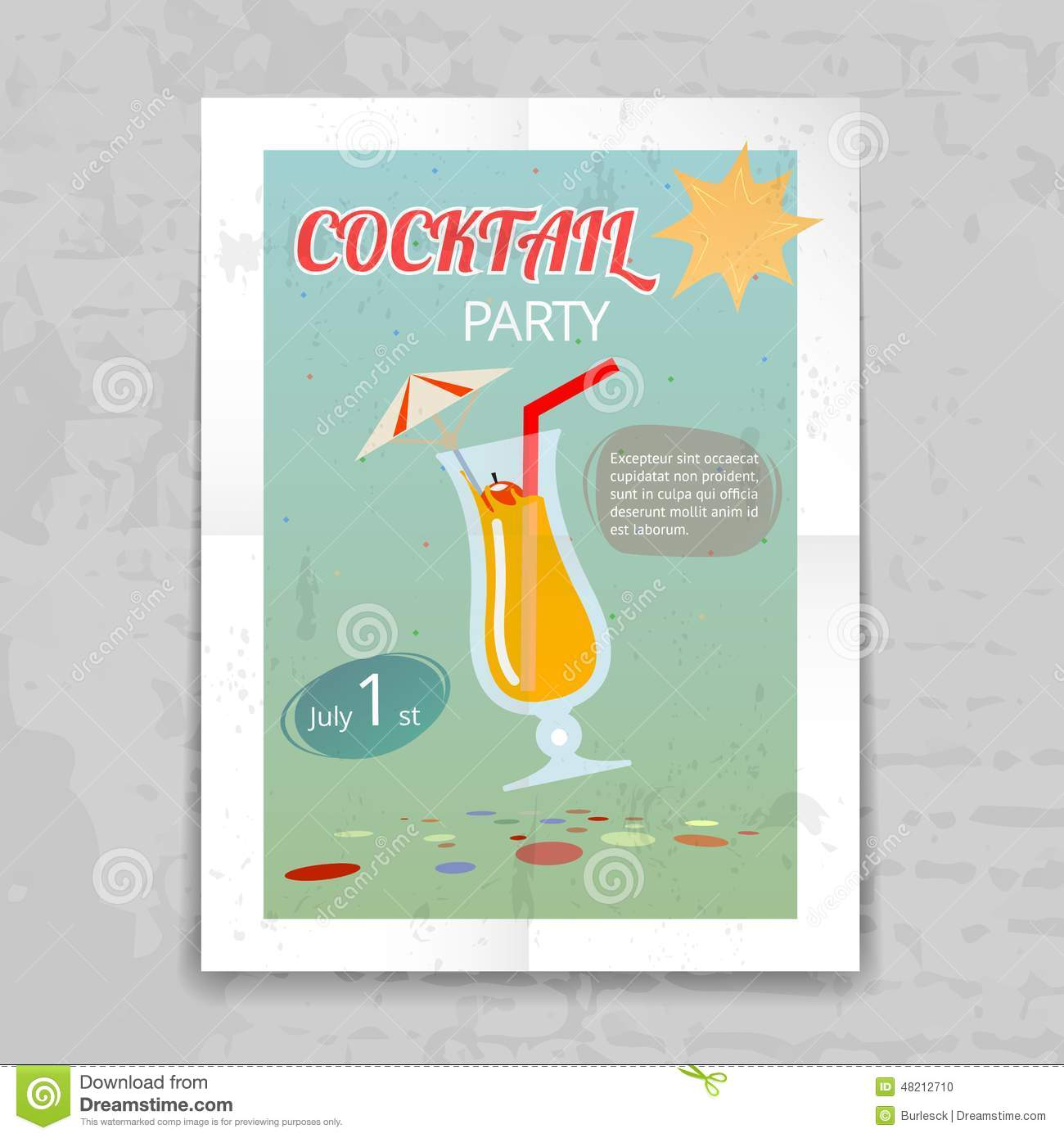 Vintage Cocktail Party Invitation Poster Stock Vector ...
