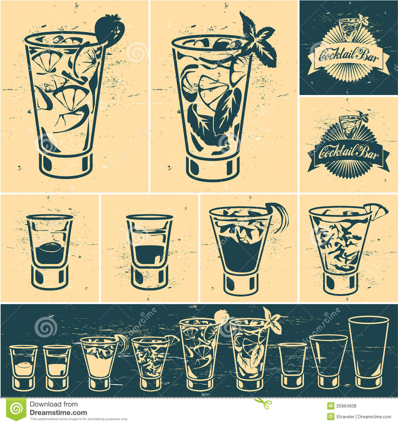 Vintage Cocktails Collection Stock Vector - Illustration of