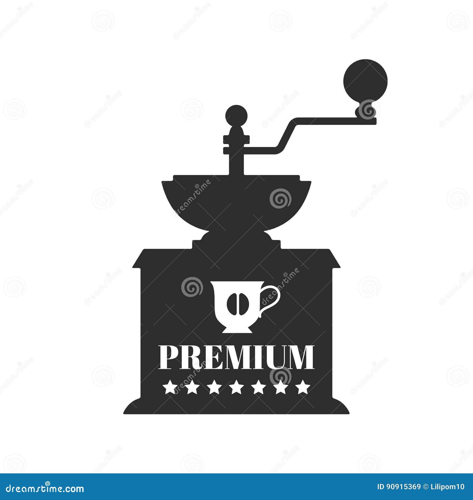 Doral Designs Coffee Maker With Grinder And Timer : Vintage Coffee Grinder. Flat Black Silhouette. Illustration Cartoon Vector CartoonDealer.com ...