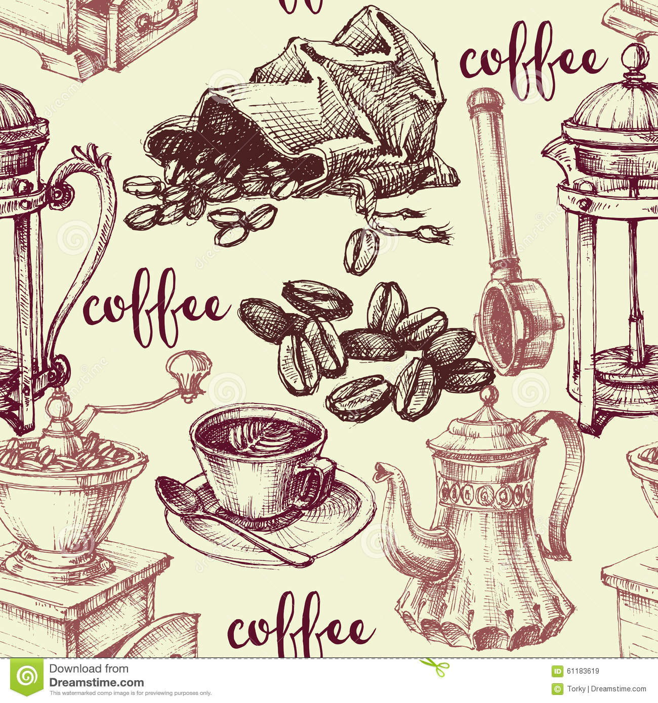 Coffee Related Objects Collection Vector Illustration Cartoondealer Com 61183570