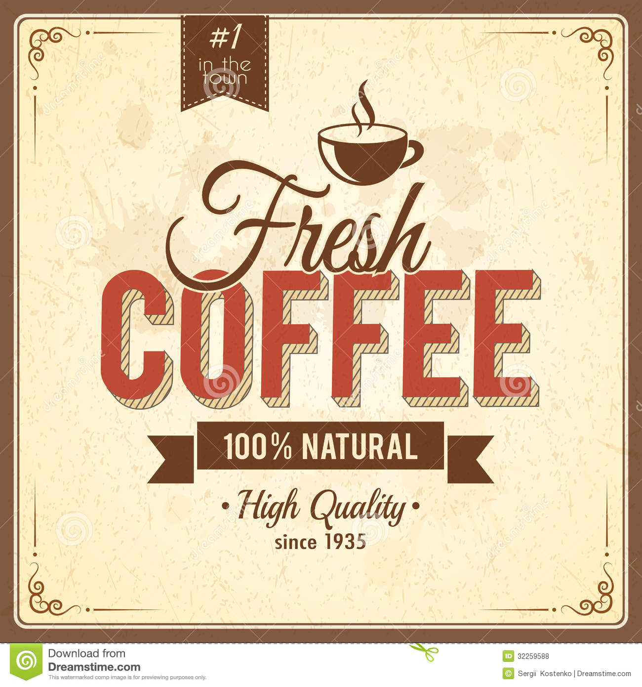 Coffee Posters Retro ~ Vintage coffee poster with grunge effects stock