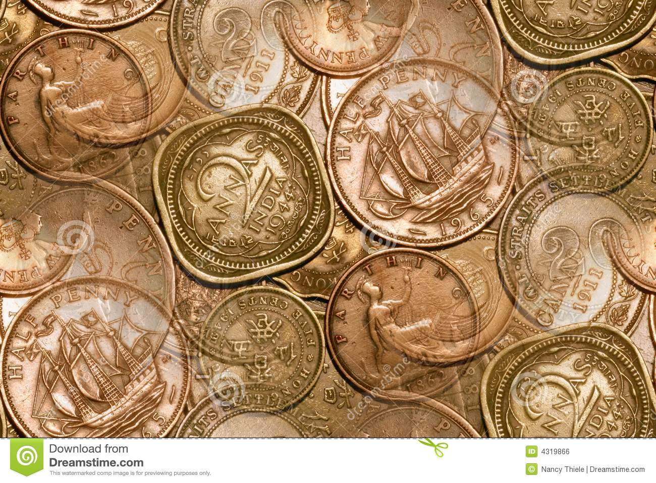 Vintage Coins Background Abstract Editorial Photo Image