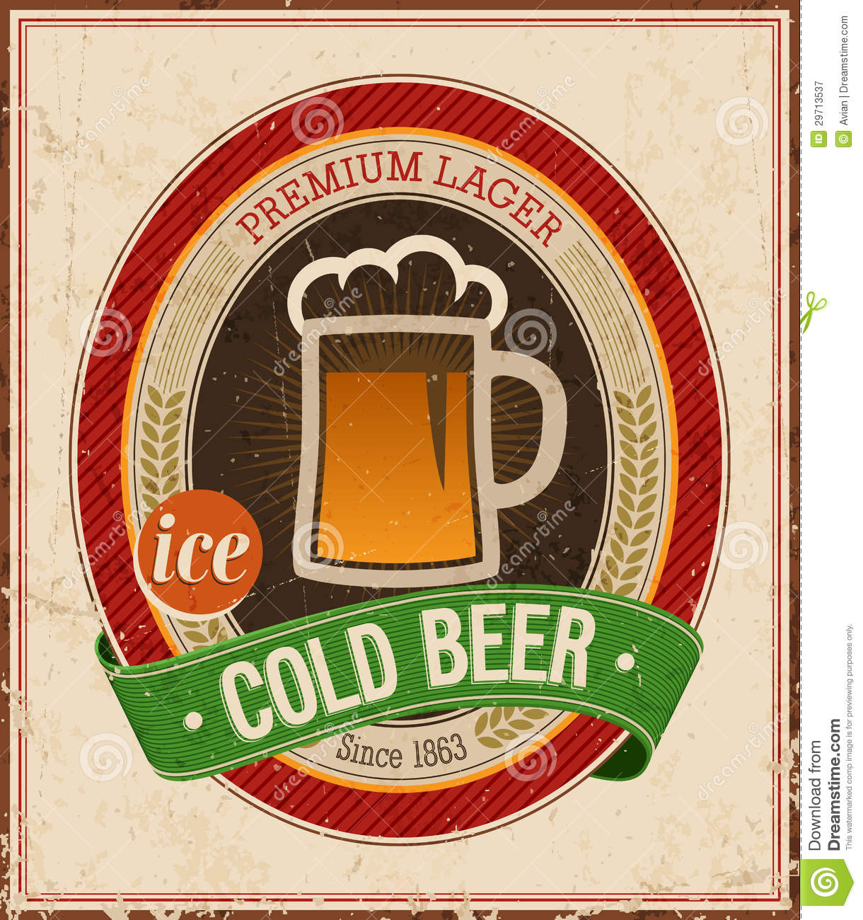 vintage cold beer poster  royalty free stock photography