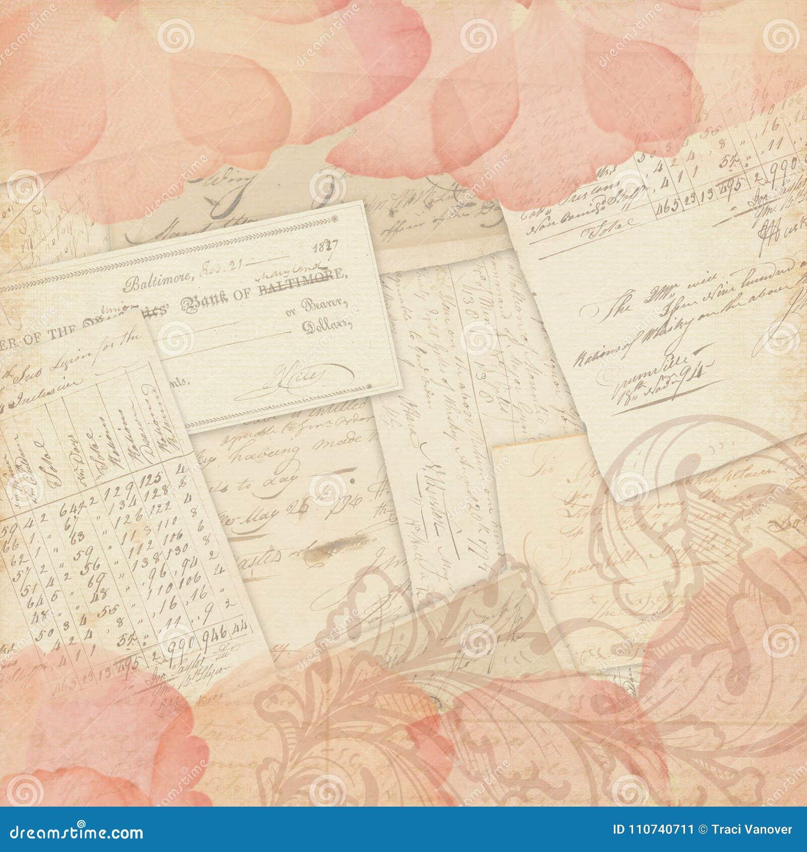 Vintage Collage Background - Scrapbook Paper Design - Mixed Media Stock - Rose Petals and Ephemera