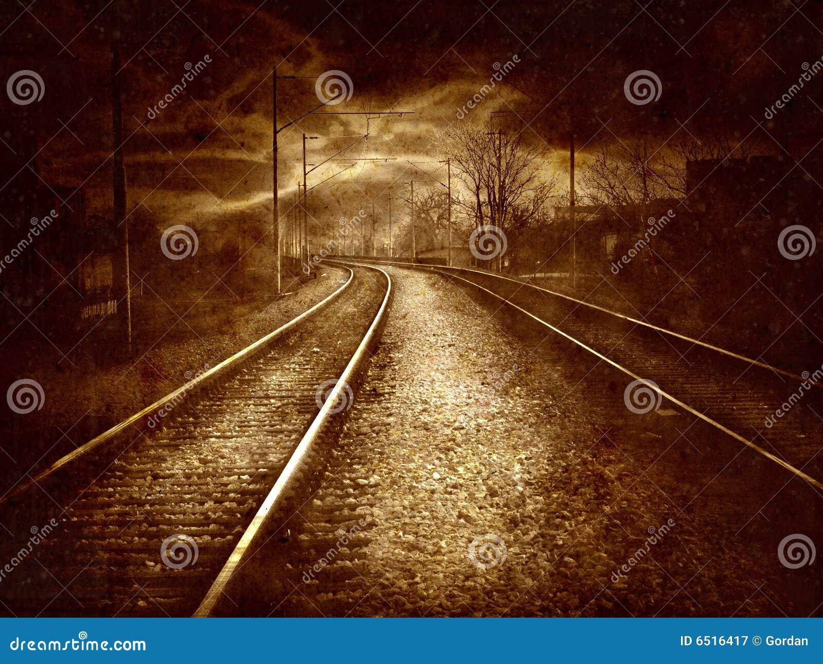 Vintage collage - old railroad