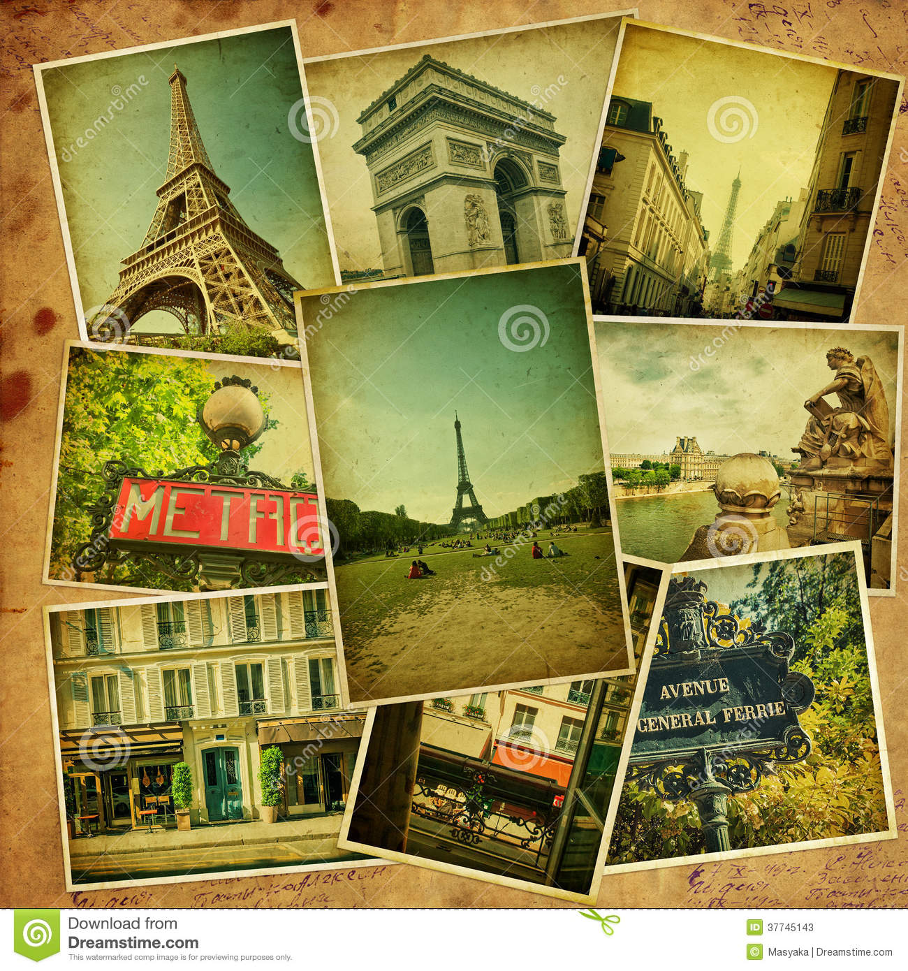 Vintage Travel Trailers: Vintage Collage. Paris Travel. Stock Image