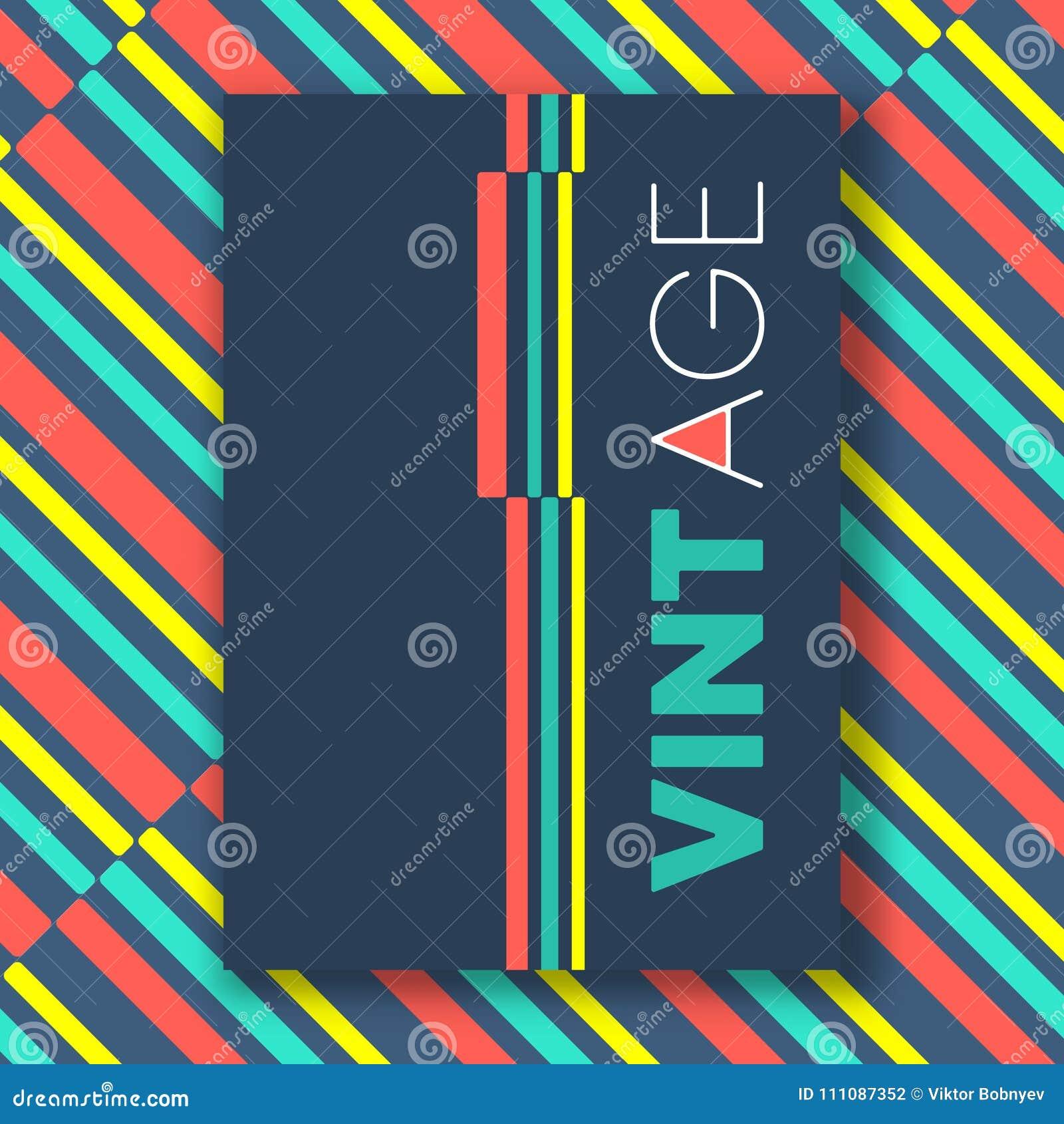 Vintage color lines poster stock vector  Illustration of