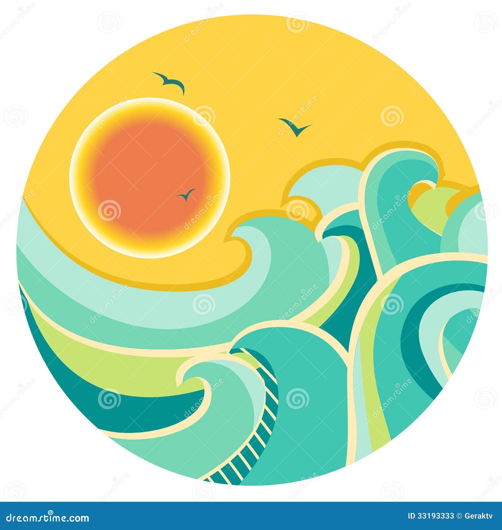 vintage color seascape with sun on round symbol stock. Black Bedroom Furniture Sets. Home Design Ideas