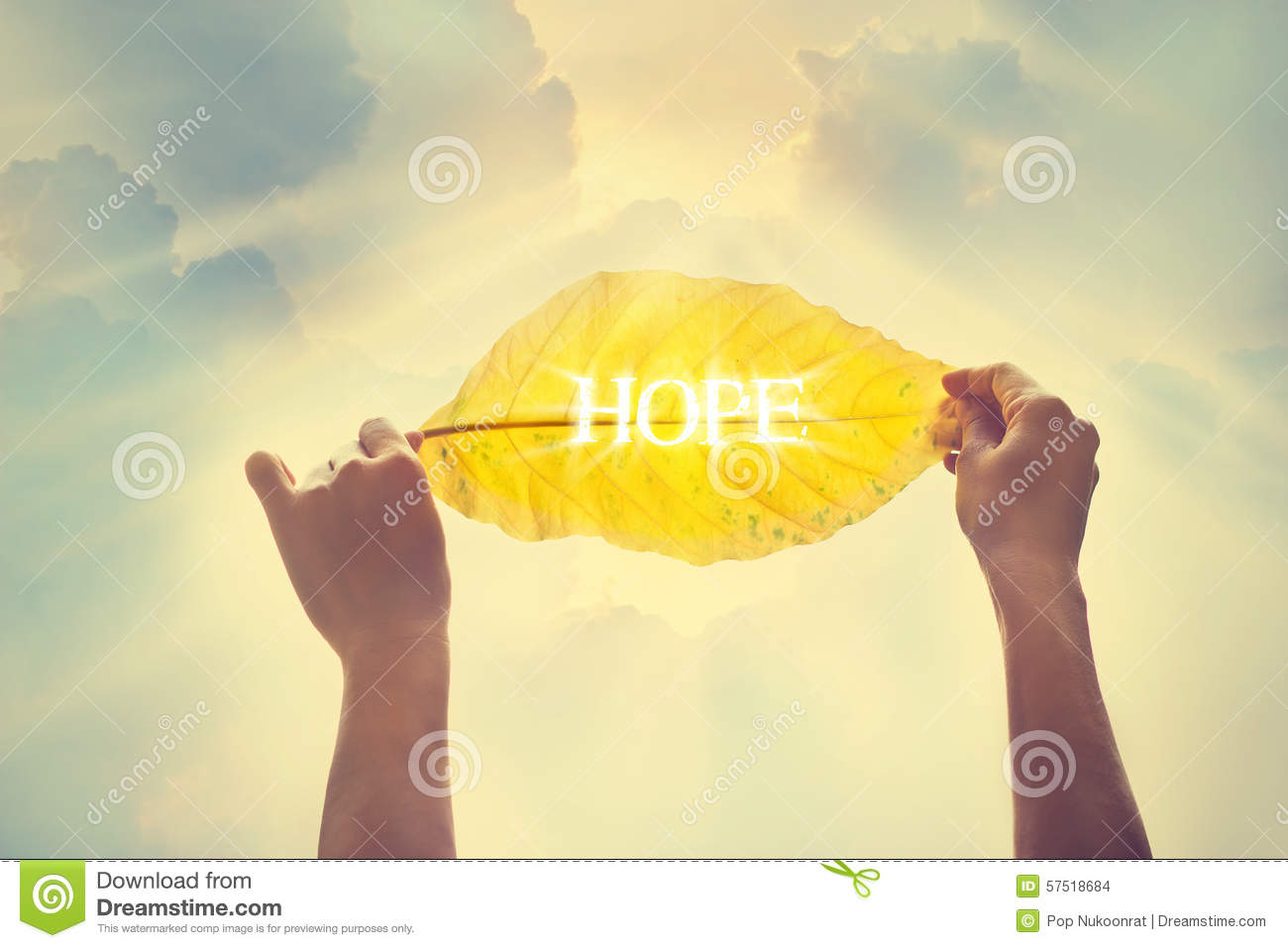 Vintage Color Tone, Holding A Yellow Leaf In The Sky Of Hope Stock ...