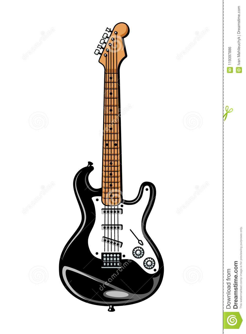 vintage colorful electric guitar template stock vector